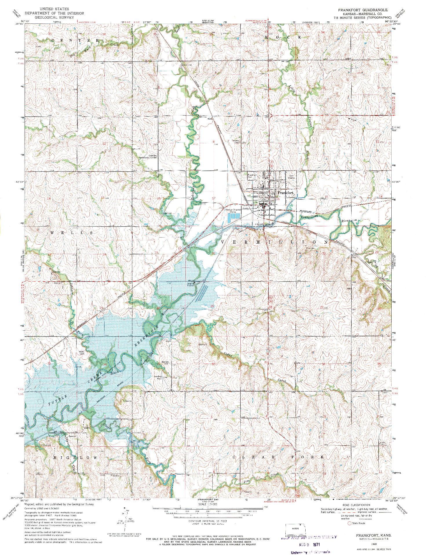 USGS 1:24000-SCALE QUADRANGLE FOR FRANKFORT, KS 1969