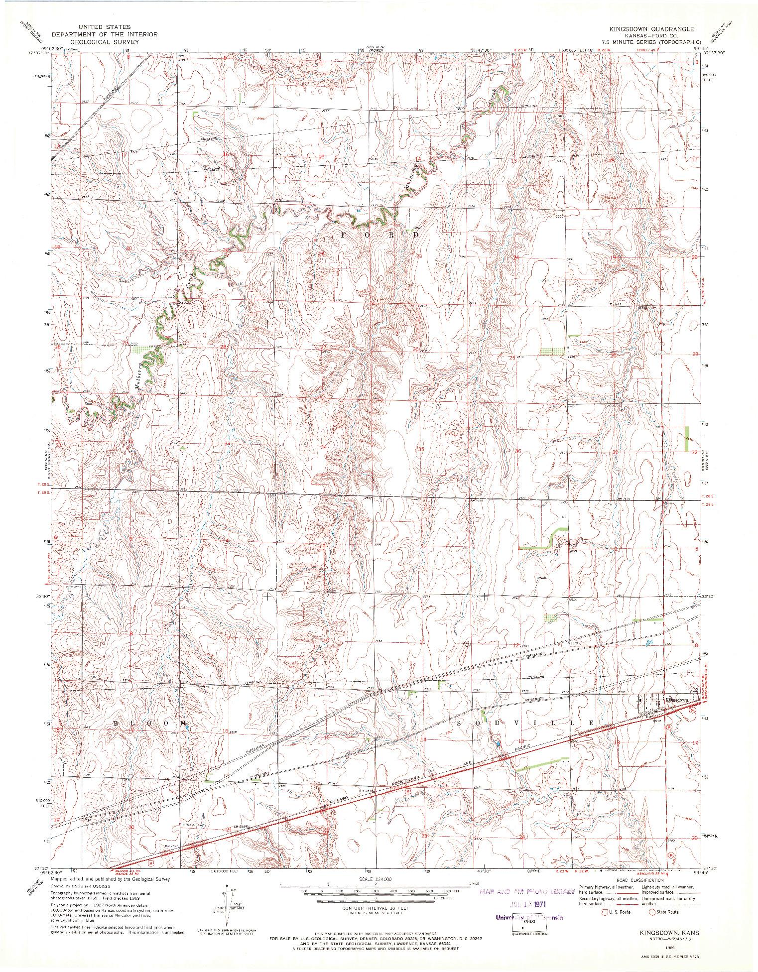 USGS 1:24000-SCALE QUADRANGLE FOR KINGSDOWN, KS 1969