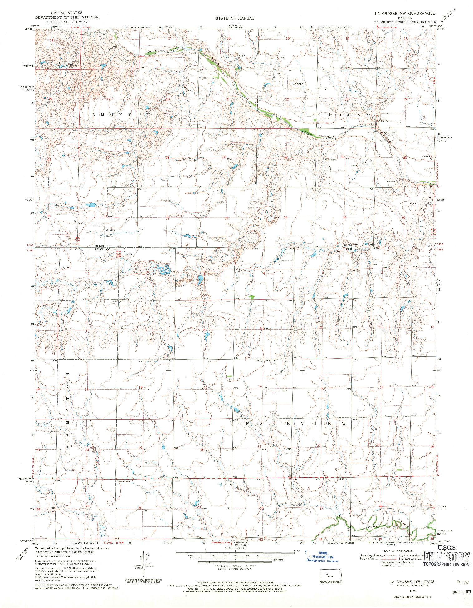 USGS 1:24000-SCALE QUADRANGLE FOR LA CROSSE NW, KS 1968
