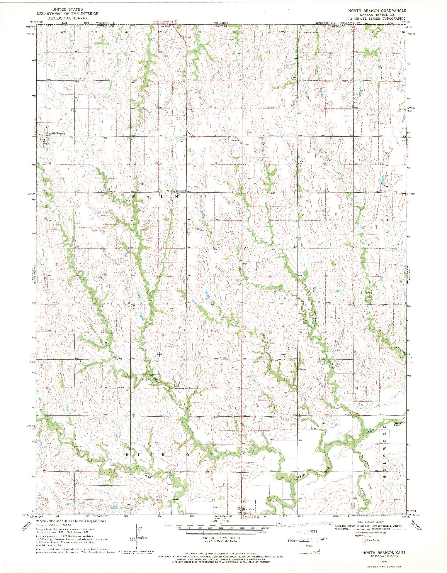 USGS 1:24000-SCALE QUADRANGLE FOR NORTH BRANCH, KS 1969