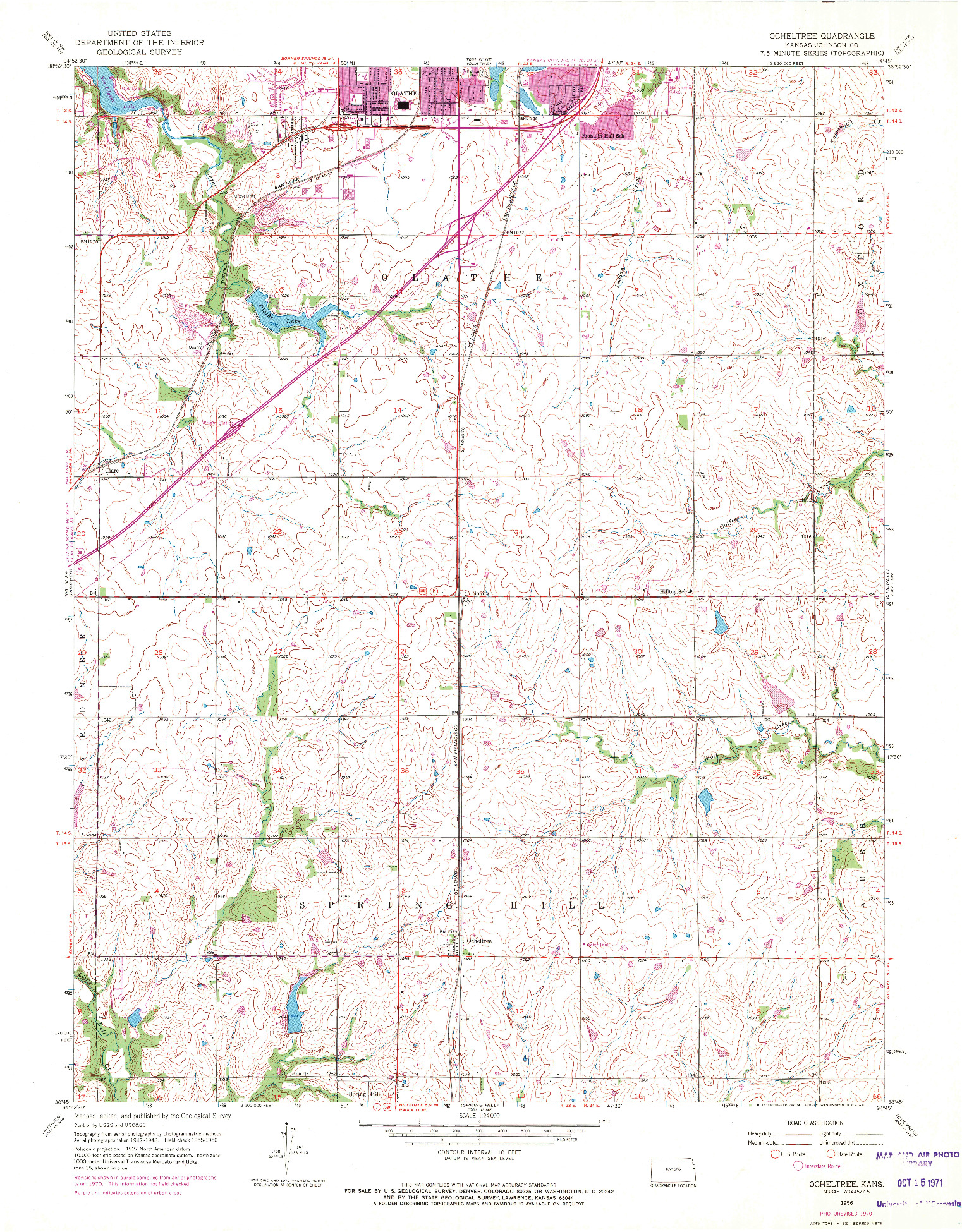 USGS 1:24000-SCALE QUADRANGLE FOR OCHELTREE, KS 1956
