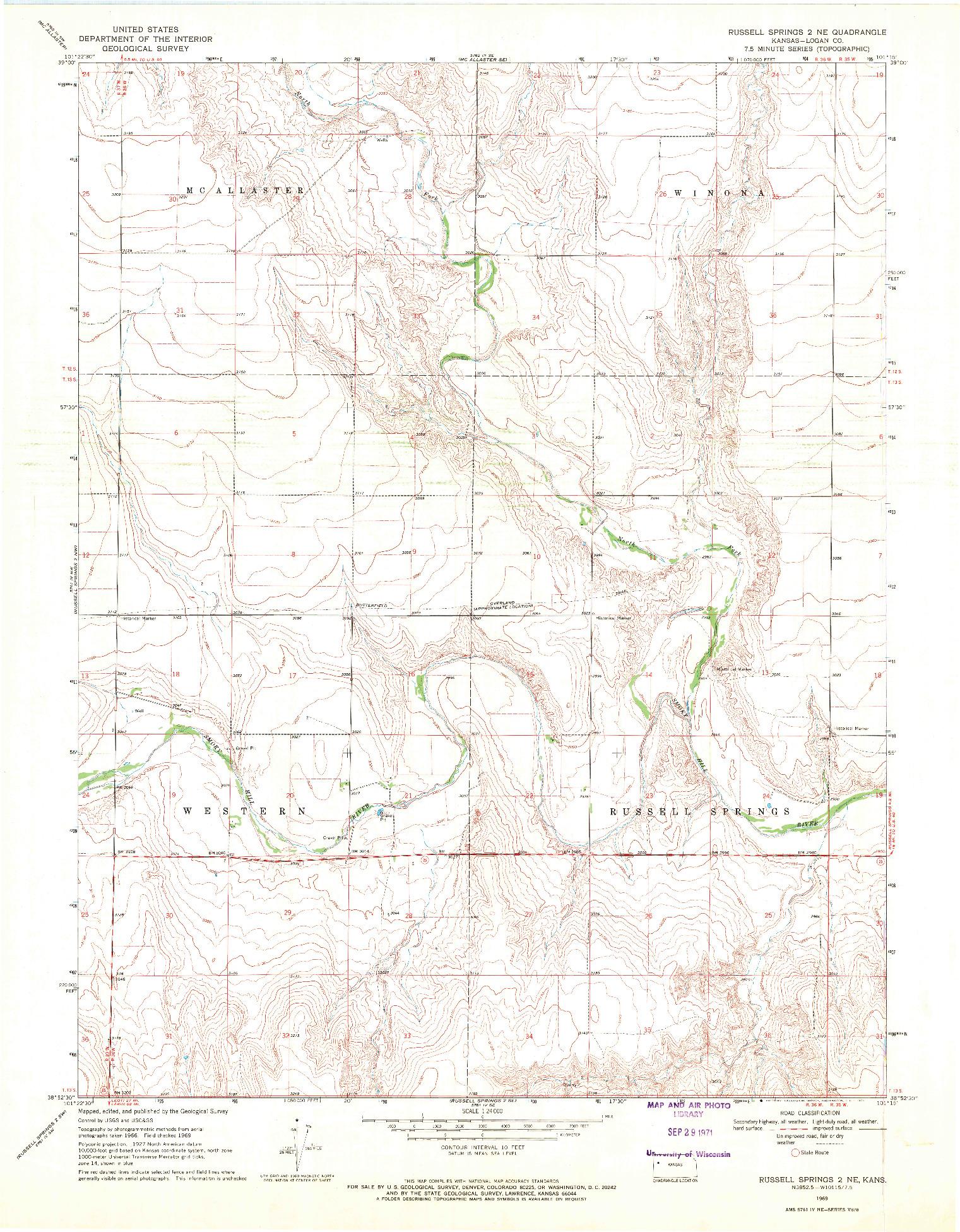 USGS 1:24000-SCALE QUADRANGLE FOR RUSSELL SPRINGS 2 NE, KS 1969