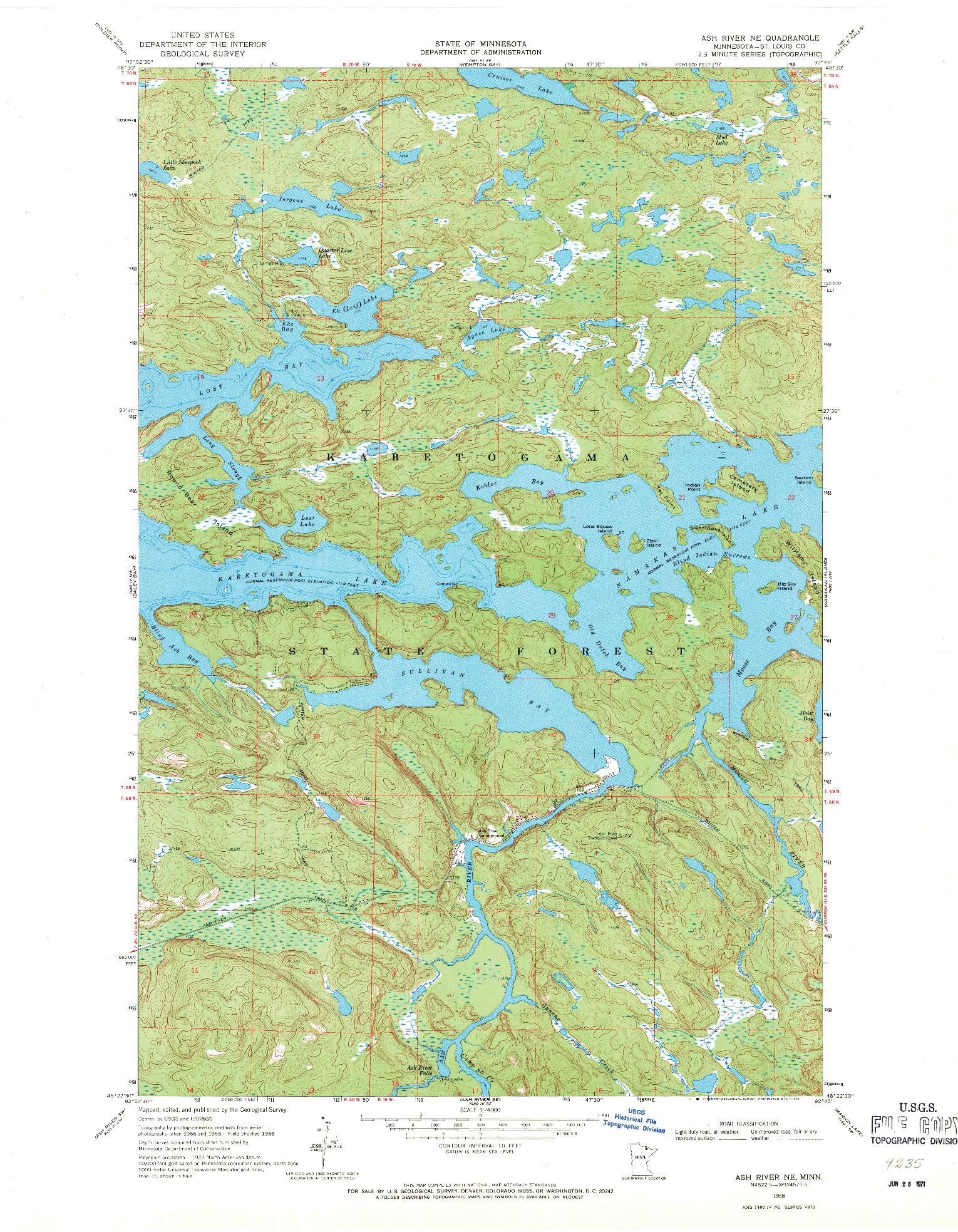 USGS 1:24000-SCALE QUADRANGLE FOR ASH RIVER NE, MN 1968