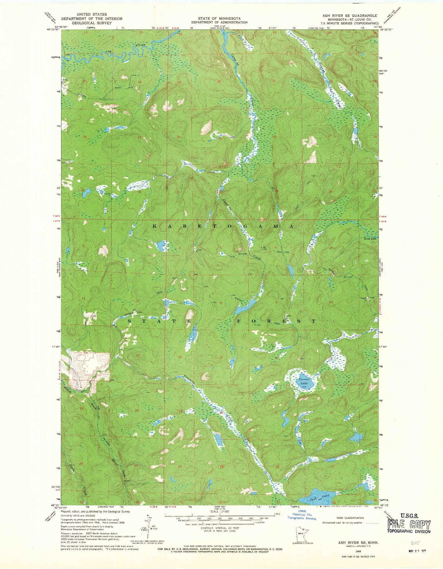 USGS 1:24000-SCALE QUADRANGLE FOR ASH RIVER SE, MN 1968