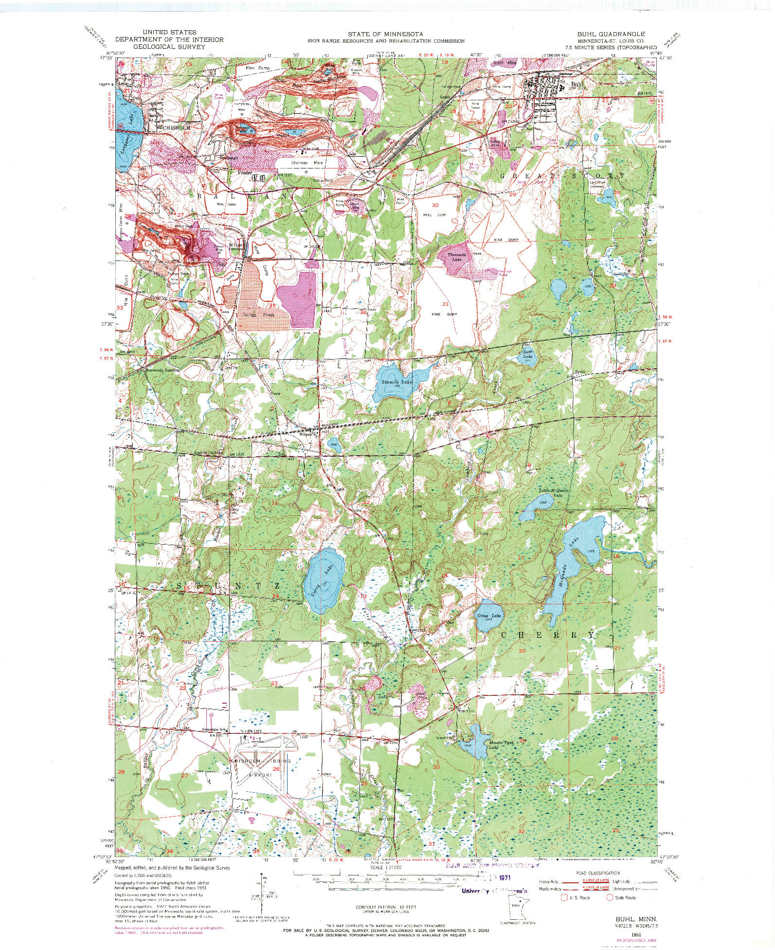 USGS 1:24000-SCALE QUADRANGLE FOR BUHL, MN 1951