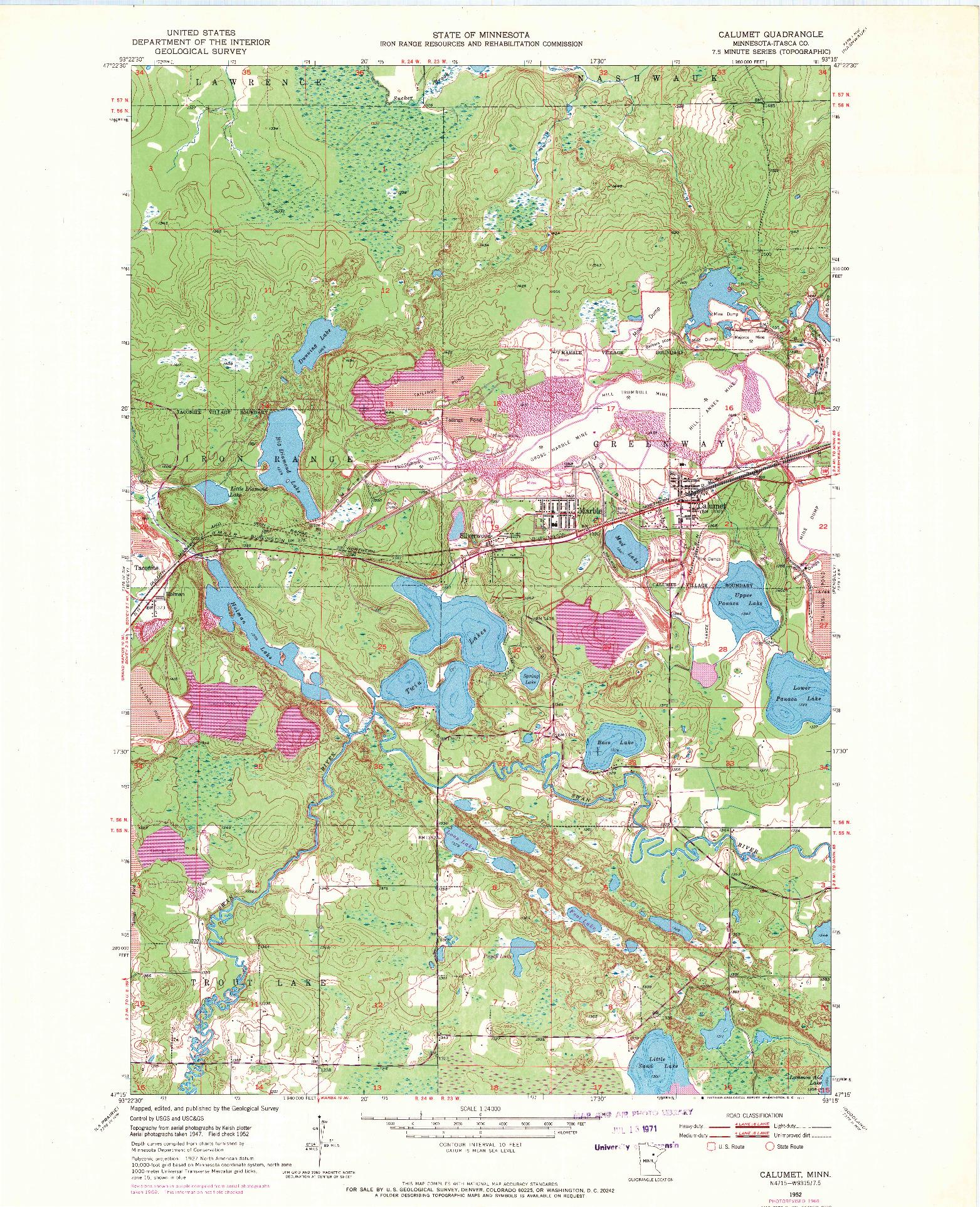 USGS 1:24000-SCALE QUADRANGLE FOR CALUMET, MN 1952