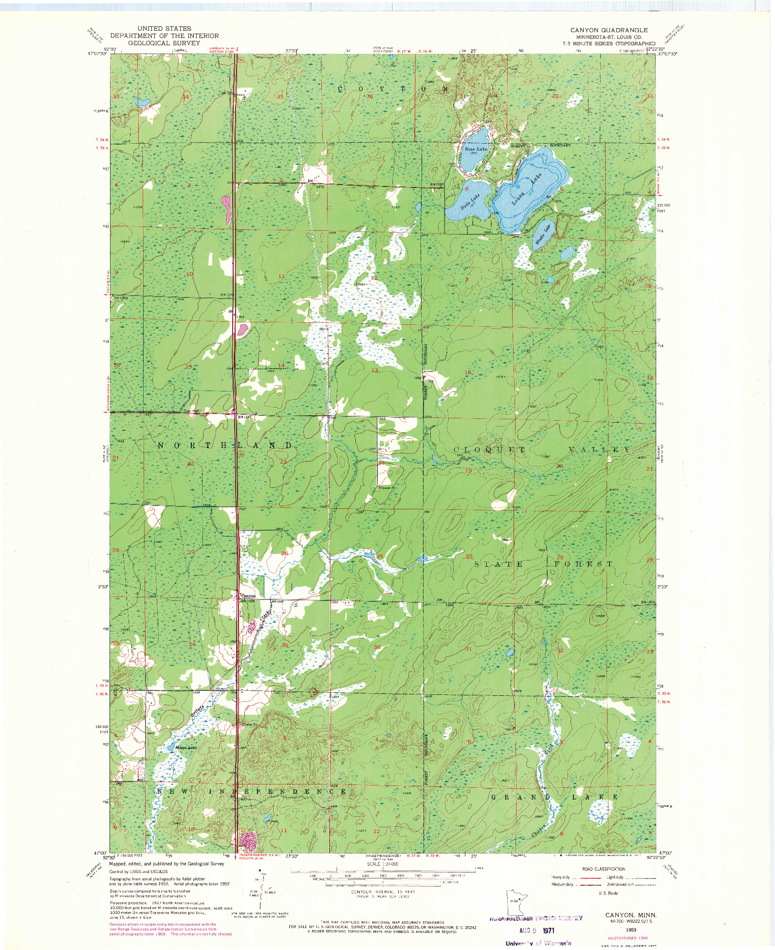 USGS 1:24000-SCALE QUADRANGLE FOR CANYON, MN 1953