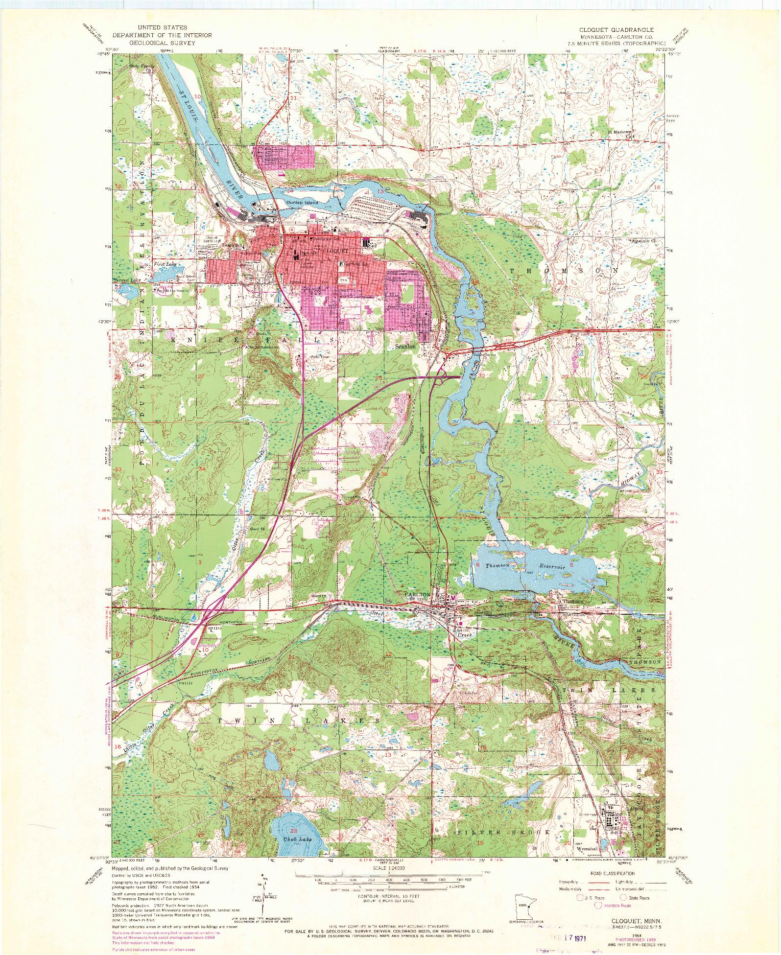 USGS 1:24000-SCALE QUADRANGLE FOR CLOQUET, MN 1954