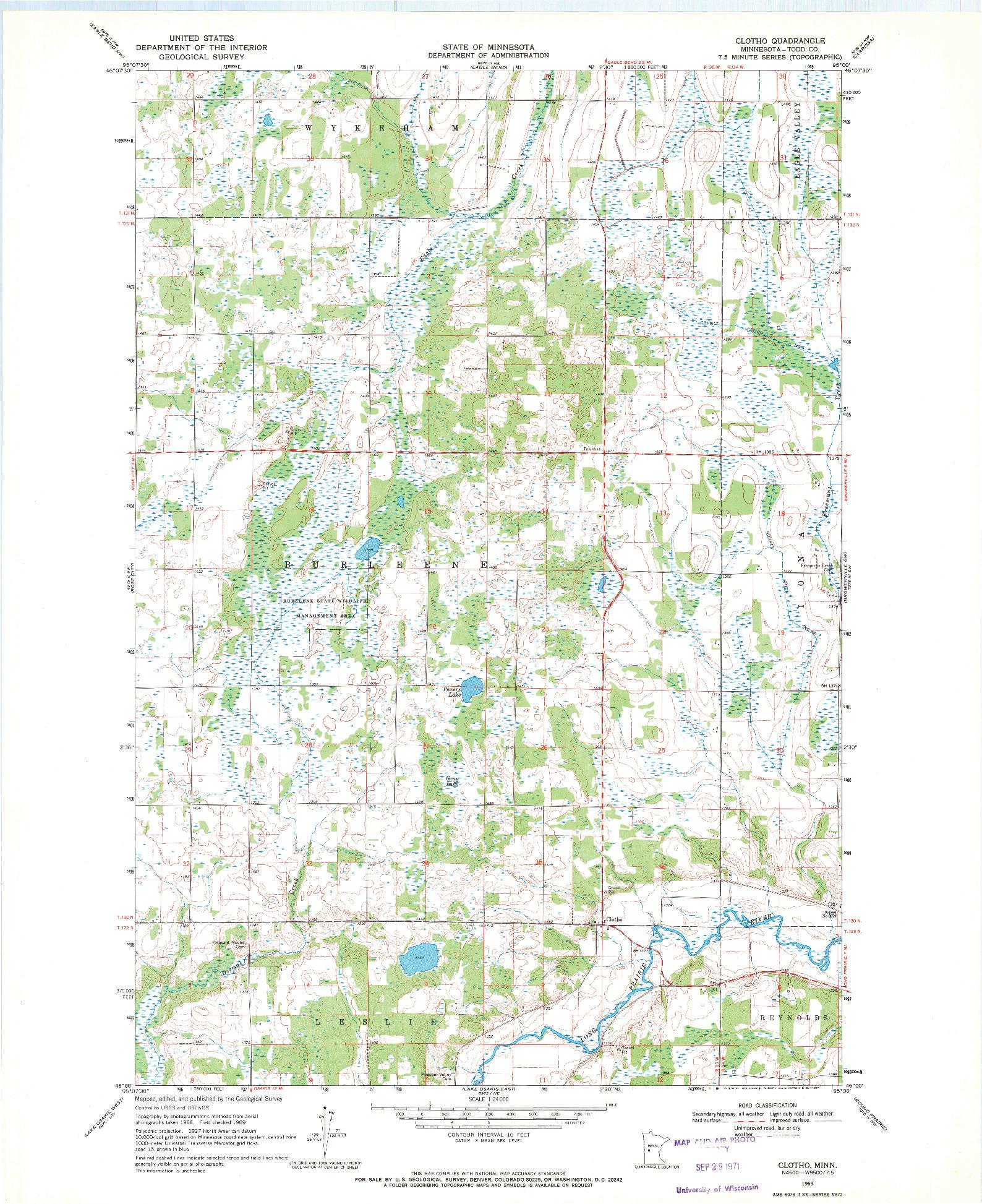 USGS 1:24000-SCALE QUADRANGLE FOR CLOTHO, MN 1969