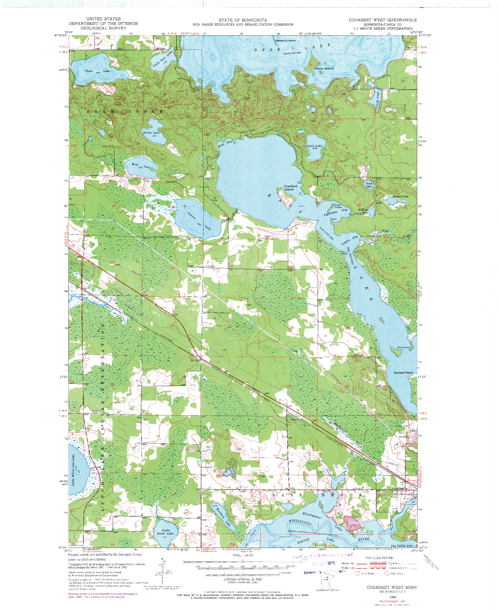 USGS 1:24000-SCALE QUADRANGLE FOR COHASSET WEST, MN 1953