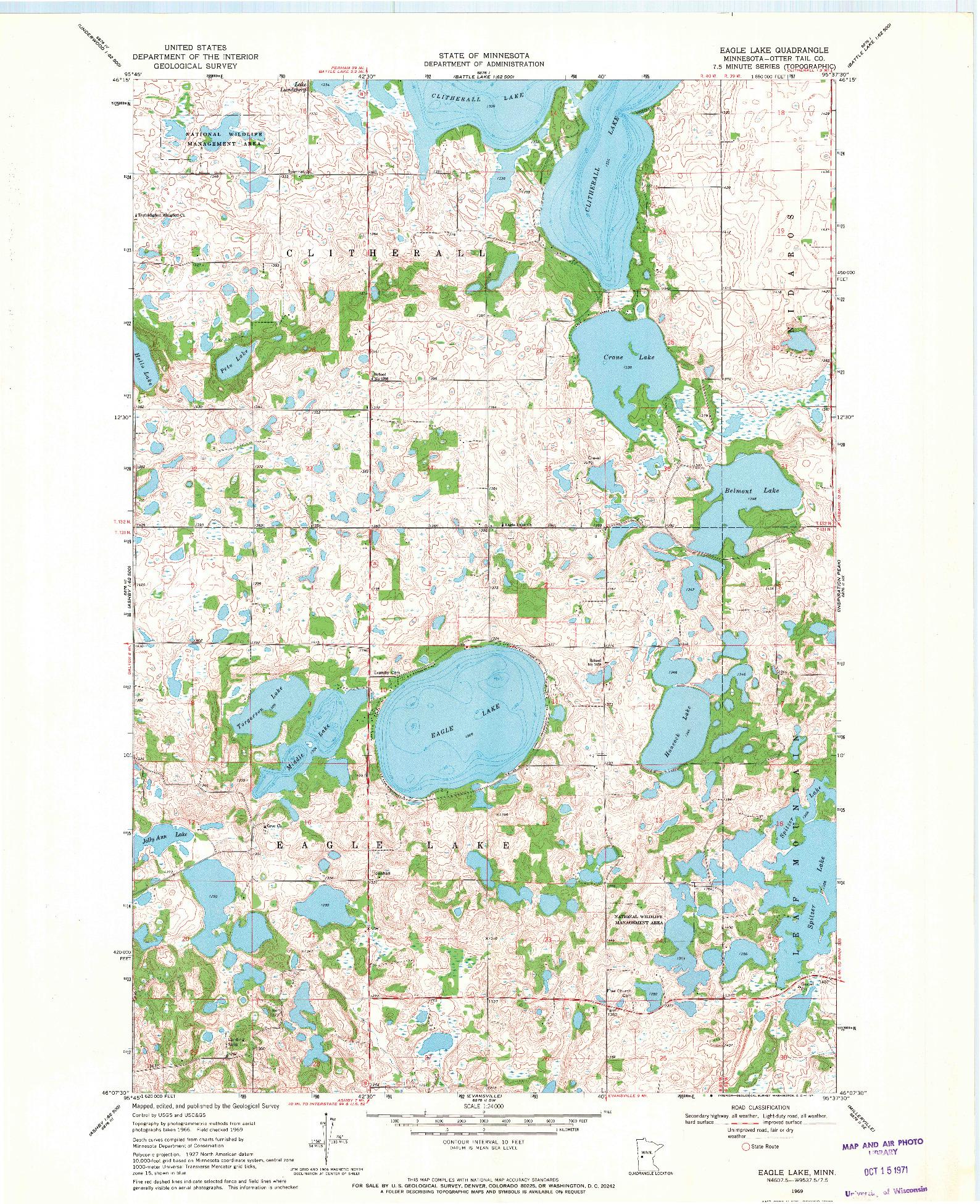 USGS 1:24000-SCALE QUADRANGLE FOR EAGLE LAKE, MN 1969