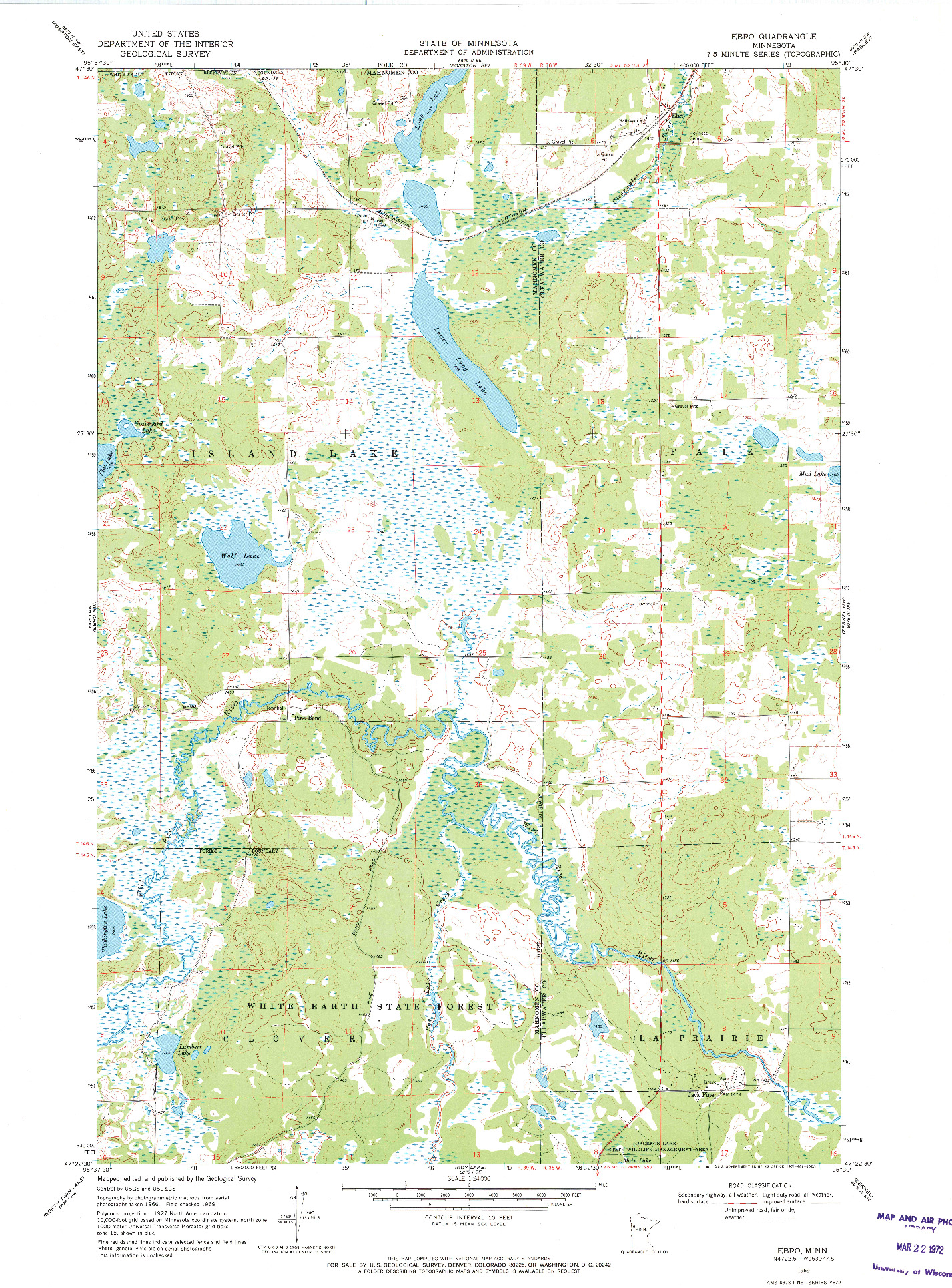 USGS 1:24000-SCALE QUADRANGLE FOR EBRO, MN 1969