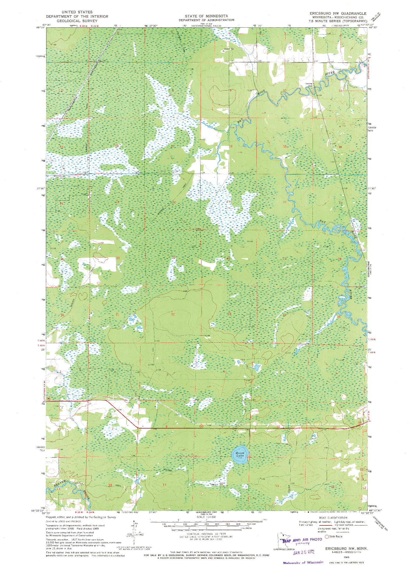 USGS 1:24000-SCALE QUADRANGLE FOR ERICSBURG NW, MN 1969