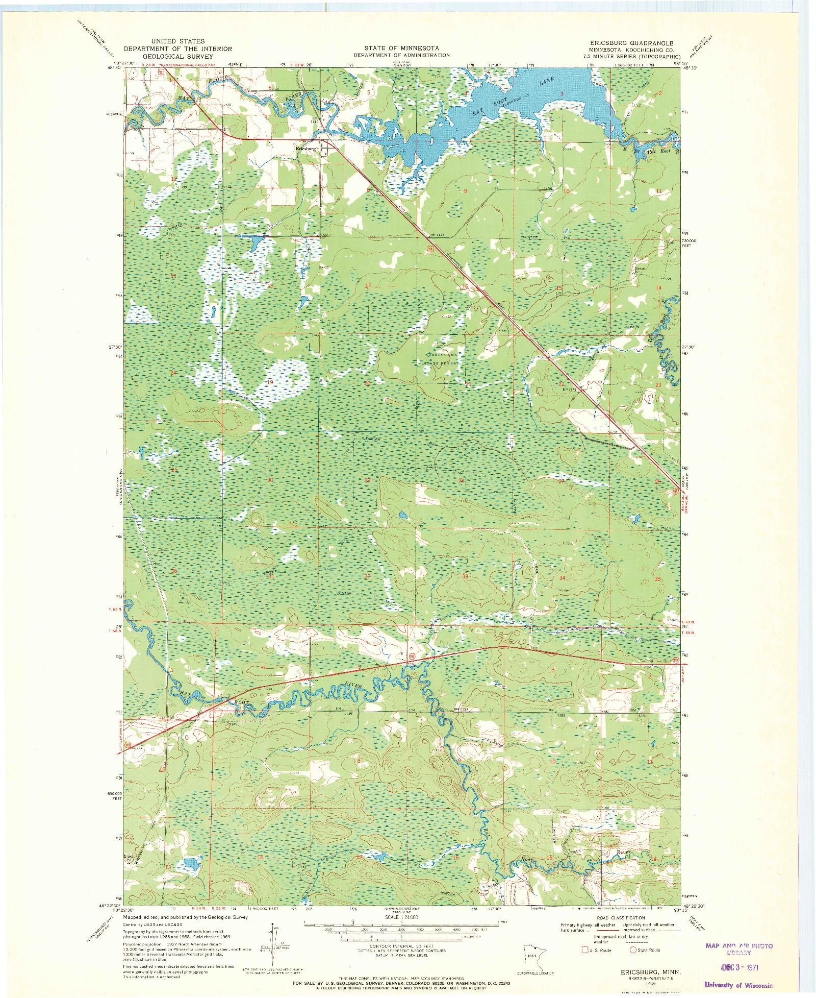 USGS 1:24000-SCALE QUADRANGLE FOR ERICSBURG, MN 1969