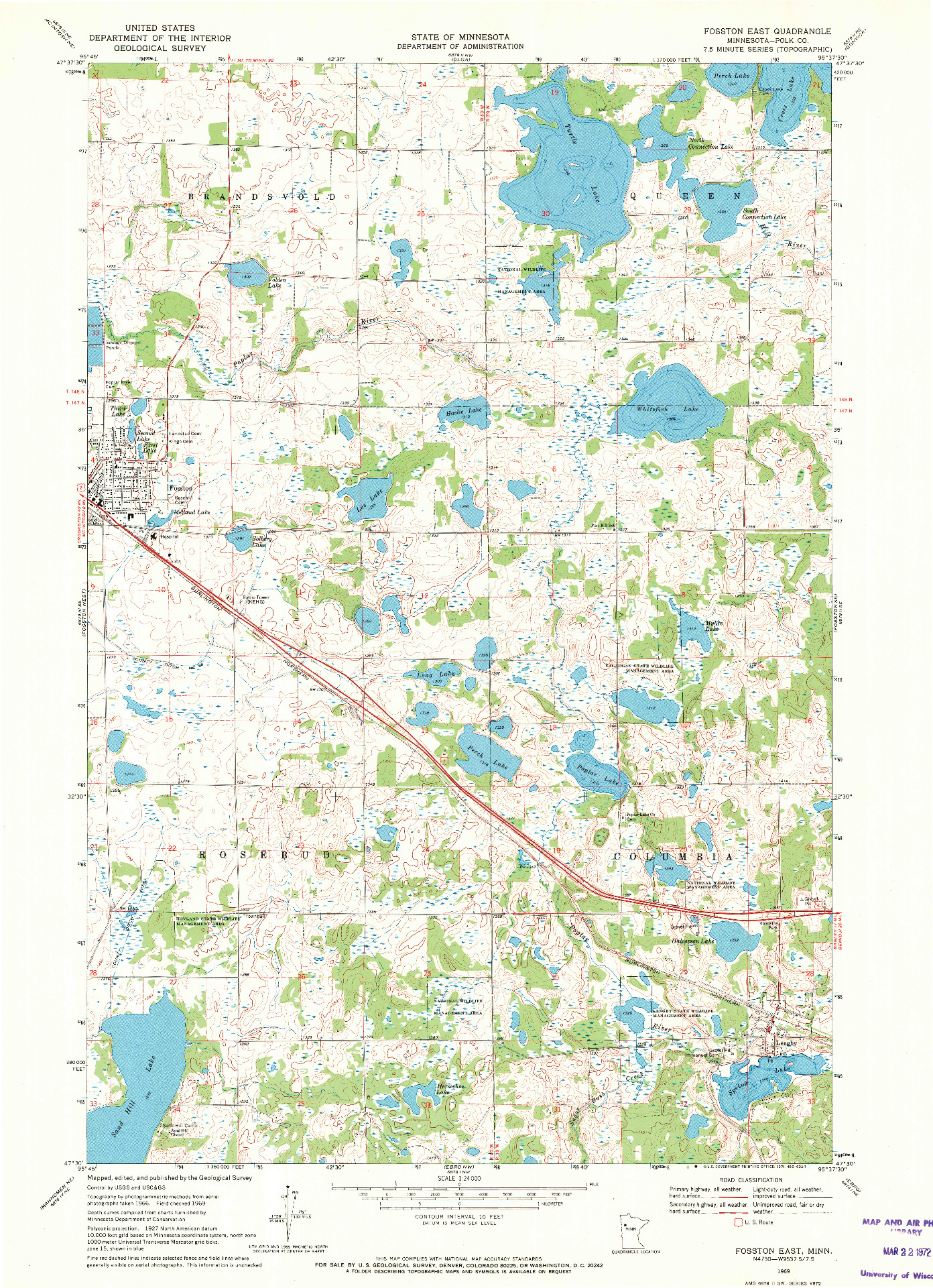 USGS 1:24000-SCALE QUADRANGLE FOR FOSSTON EAST, MN 1969
