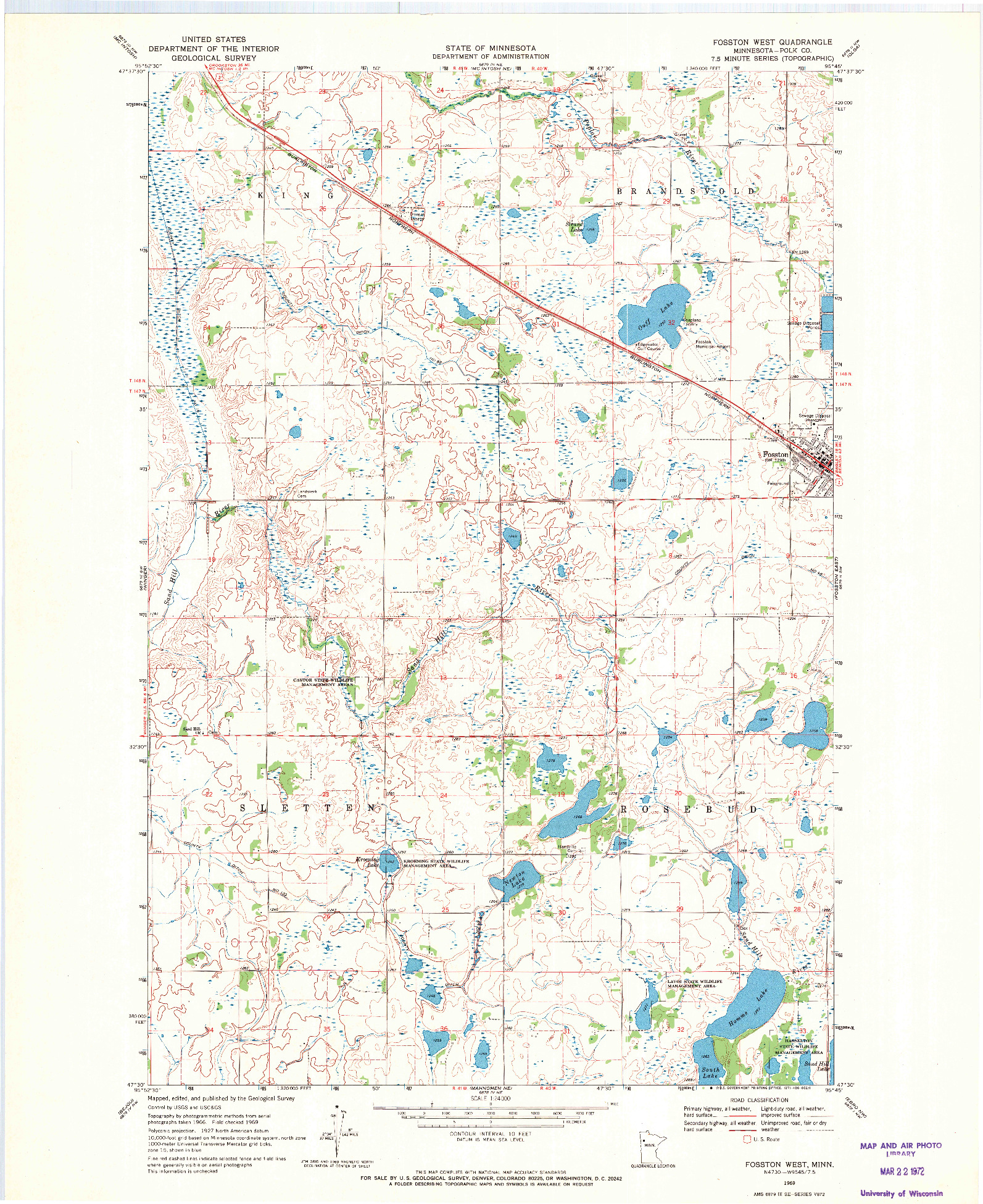 USGS 1:24000-SCALE QUADRANGLE FOR FOSSTON WEST, MN 1969