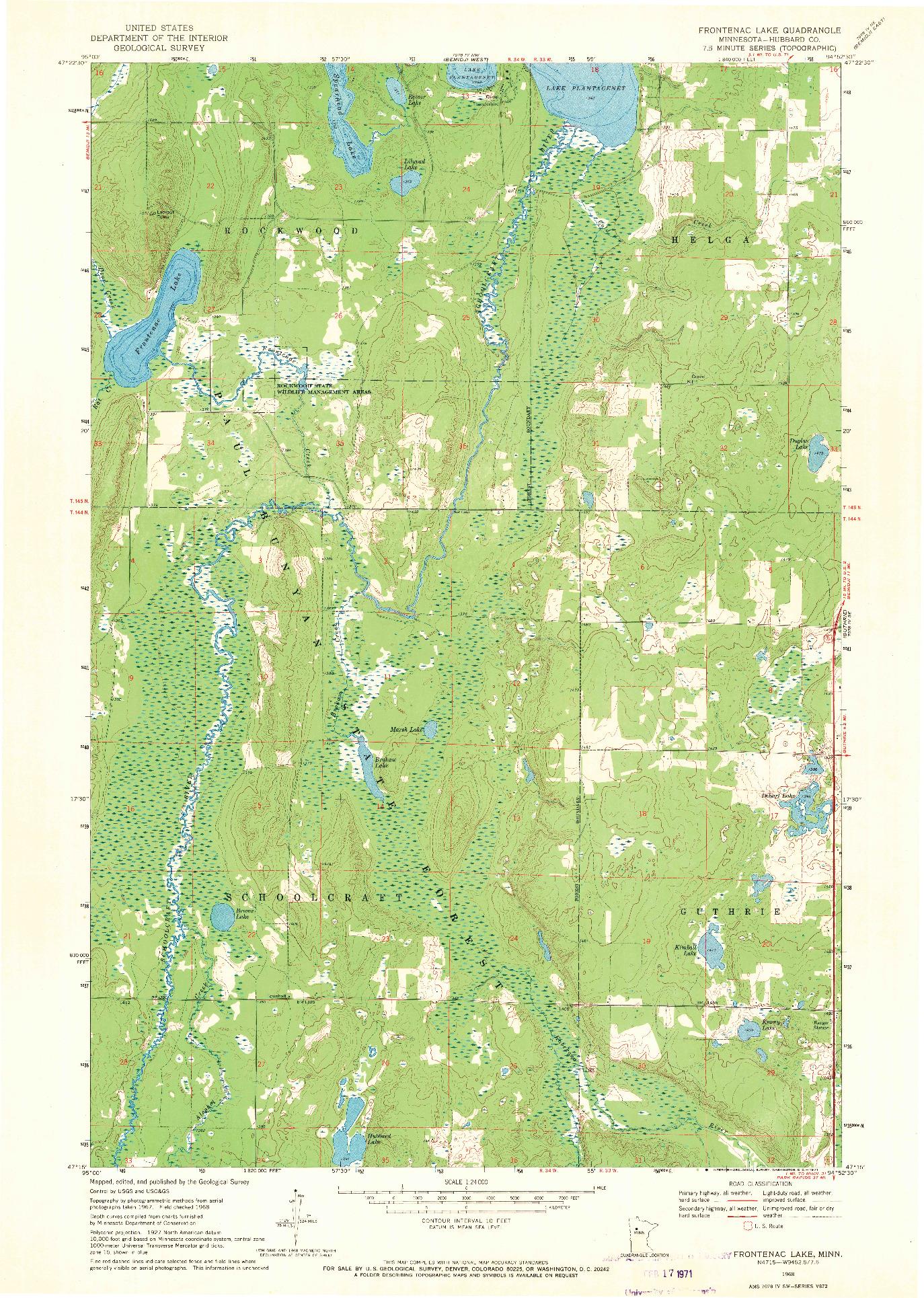 USGS 1:24000-SCALE QUADRANGLE FOR FRONTENAC LAKE, MN 1968