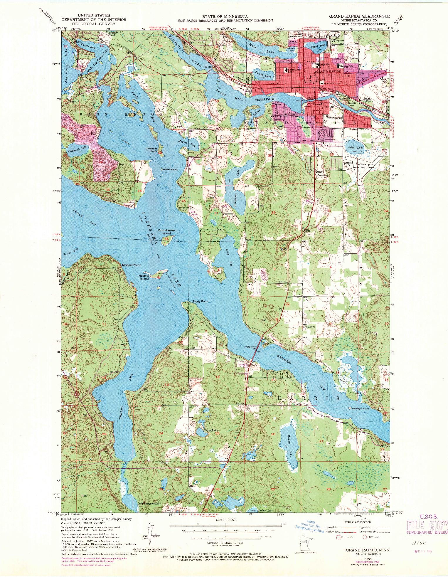 USGS 1:24000-SCALE QUADRANGLE FOR GRAND RAPIDS, MN 1953