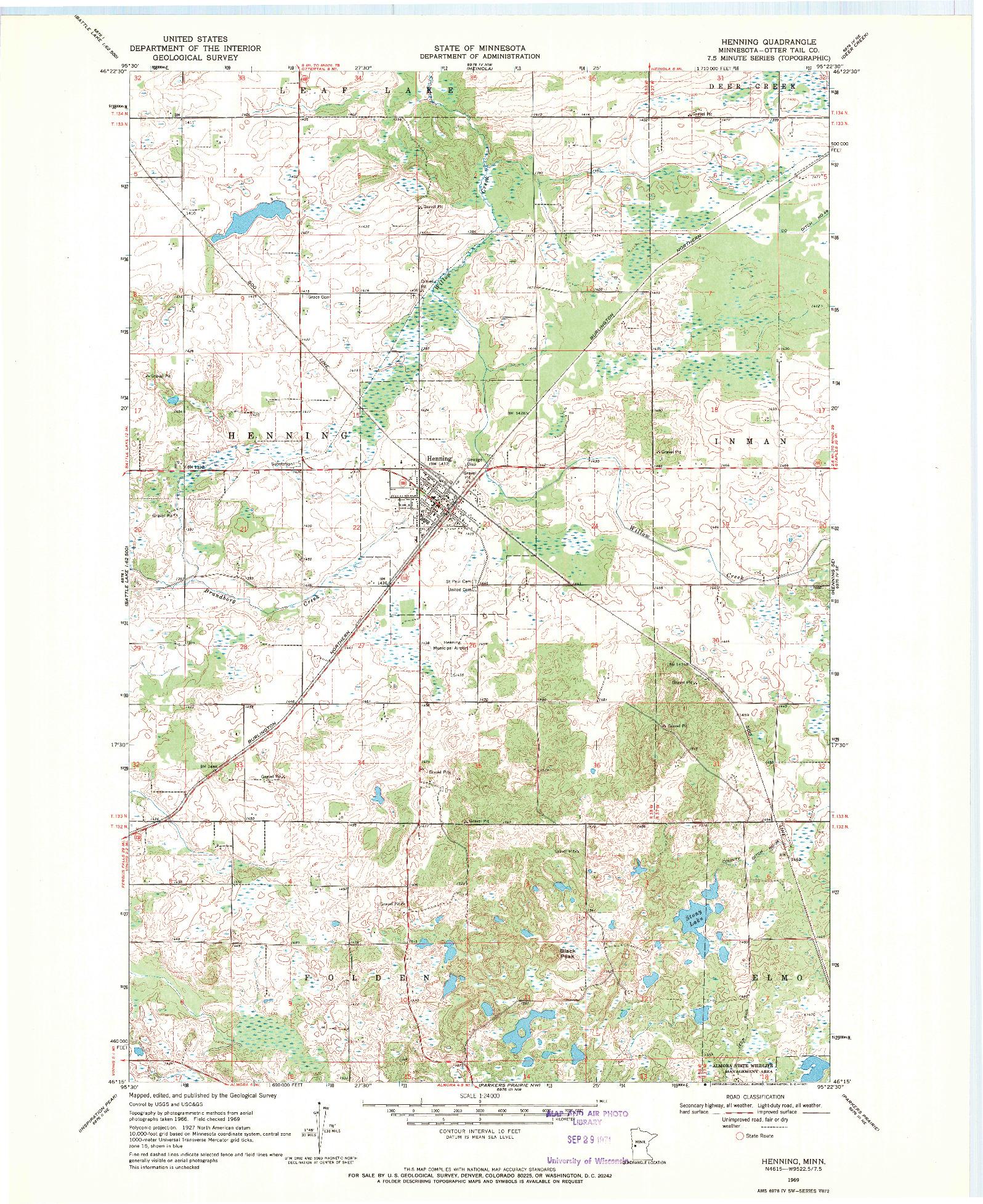 USGS 1:24000-SCALE QUADRANGLE FOR HENNING, MN 1969