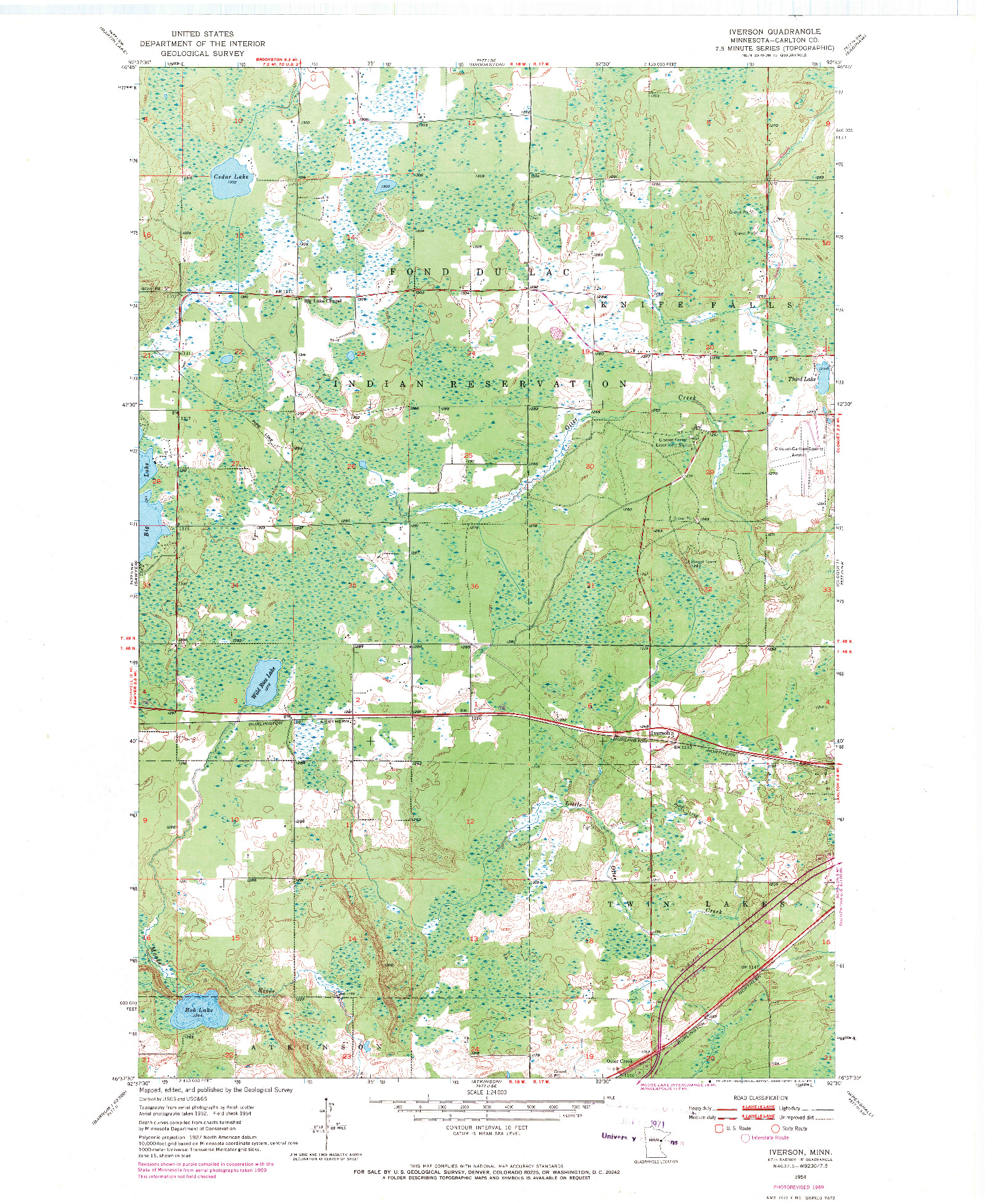 USGS 1:24000-SCALE QUADRANGLE FOR IVERSON, MN 1954