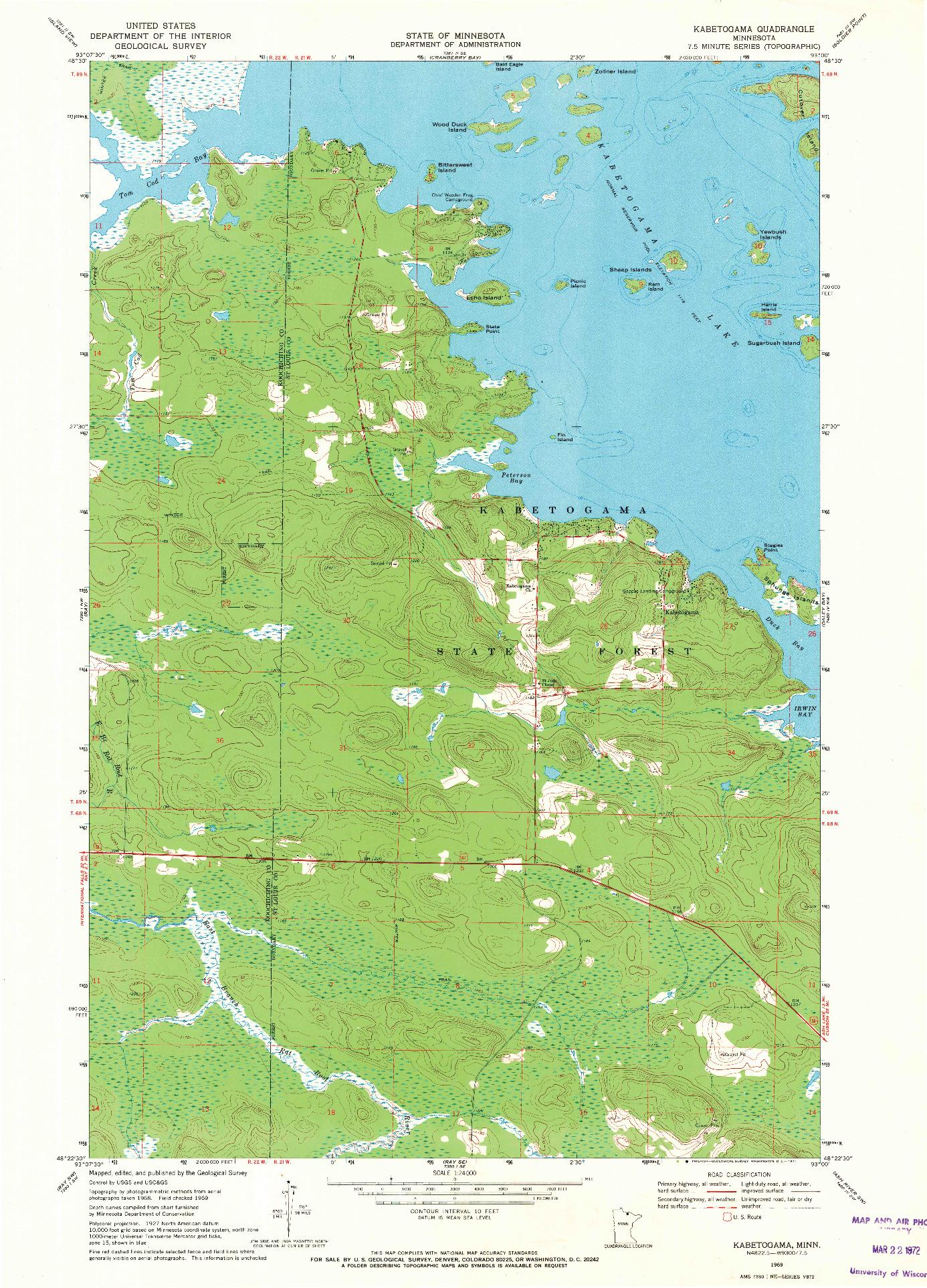USGS 1:24000-SCALE QUADRANGLE FOR KABETOGAMA, MN 1969