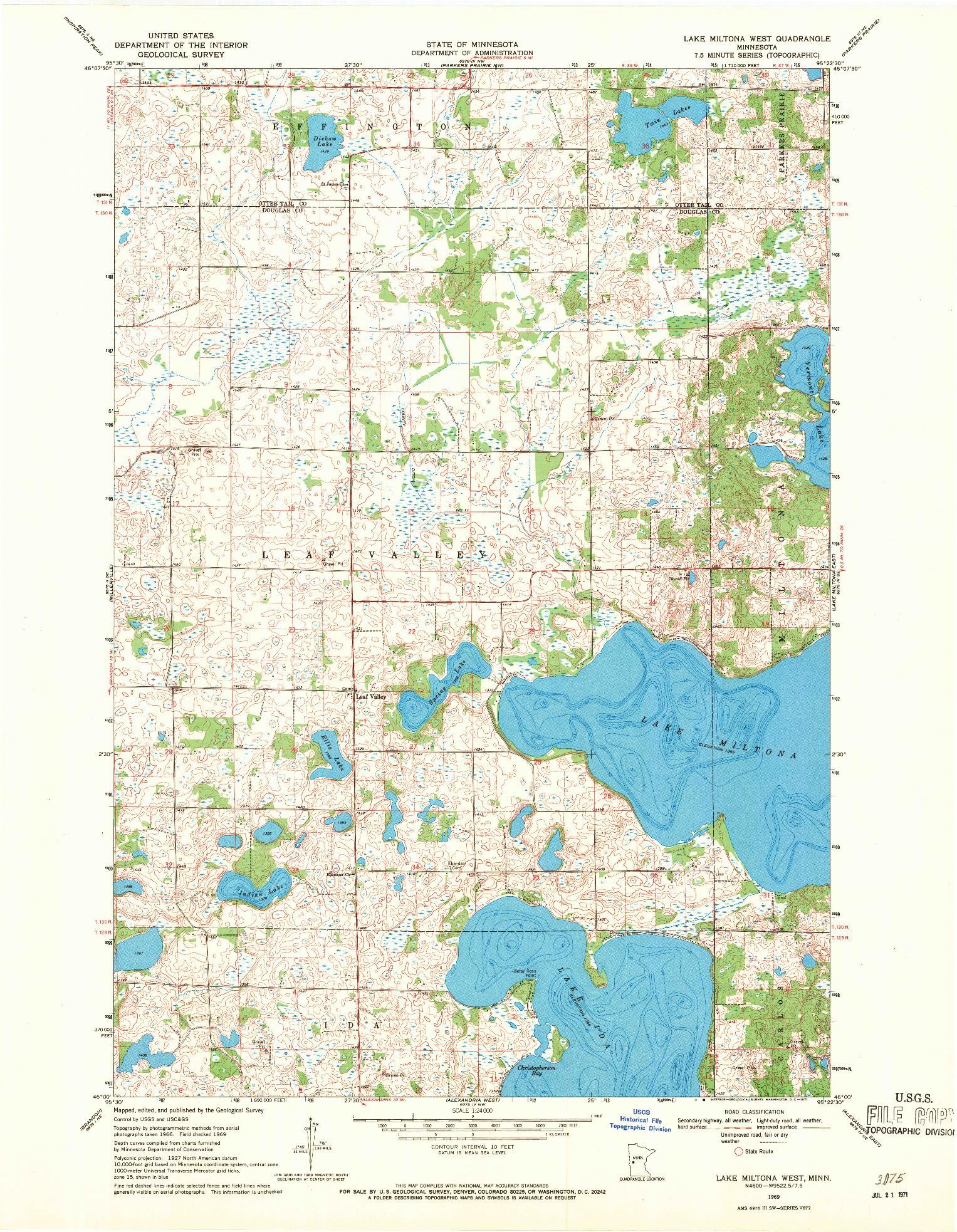 USGS 1:24000-SCALE QUADRANGLE FOR LAKE MILTONA WEST, MN 1969