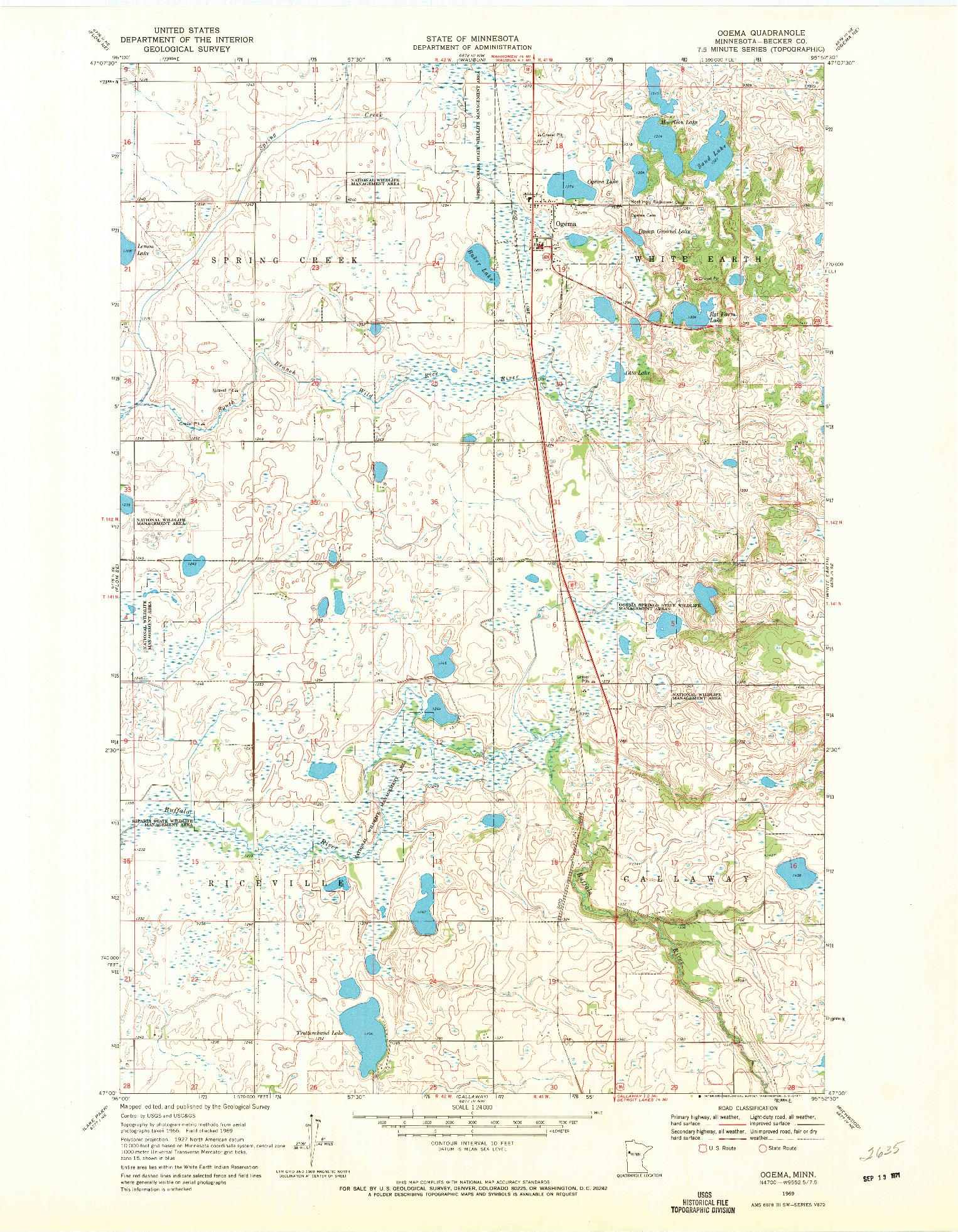 USGS 1:24000-SCALE QUADRANGLE FOR OGEMA, MN 1969