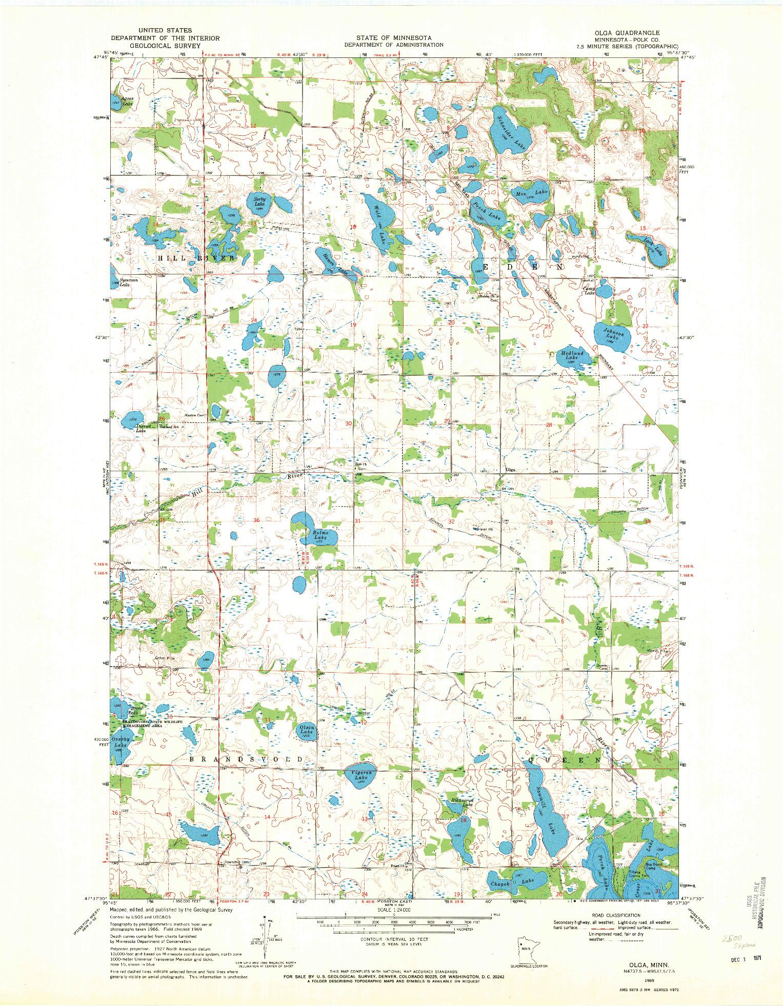 USGS 1:24000-SCALE QUADRANGLE FOR OLGA, MN 1969