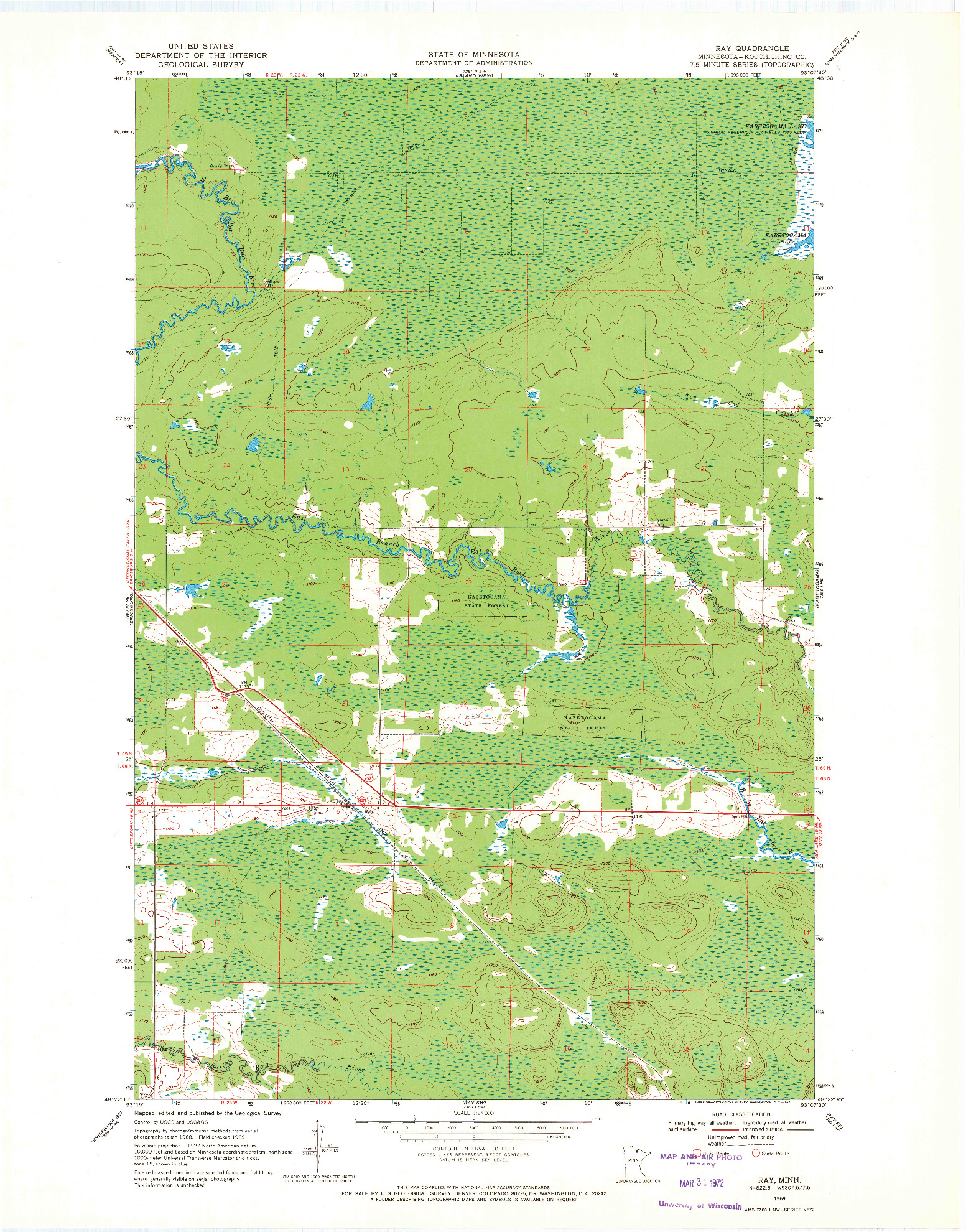 USGS 1:24000-SCALE QUADRANGLE FOR RAY, MN 1969