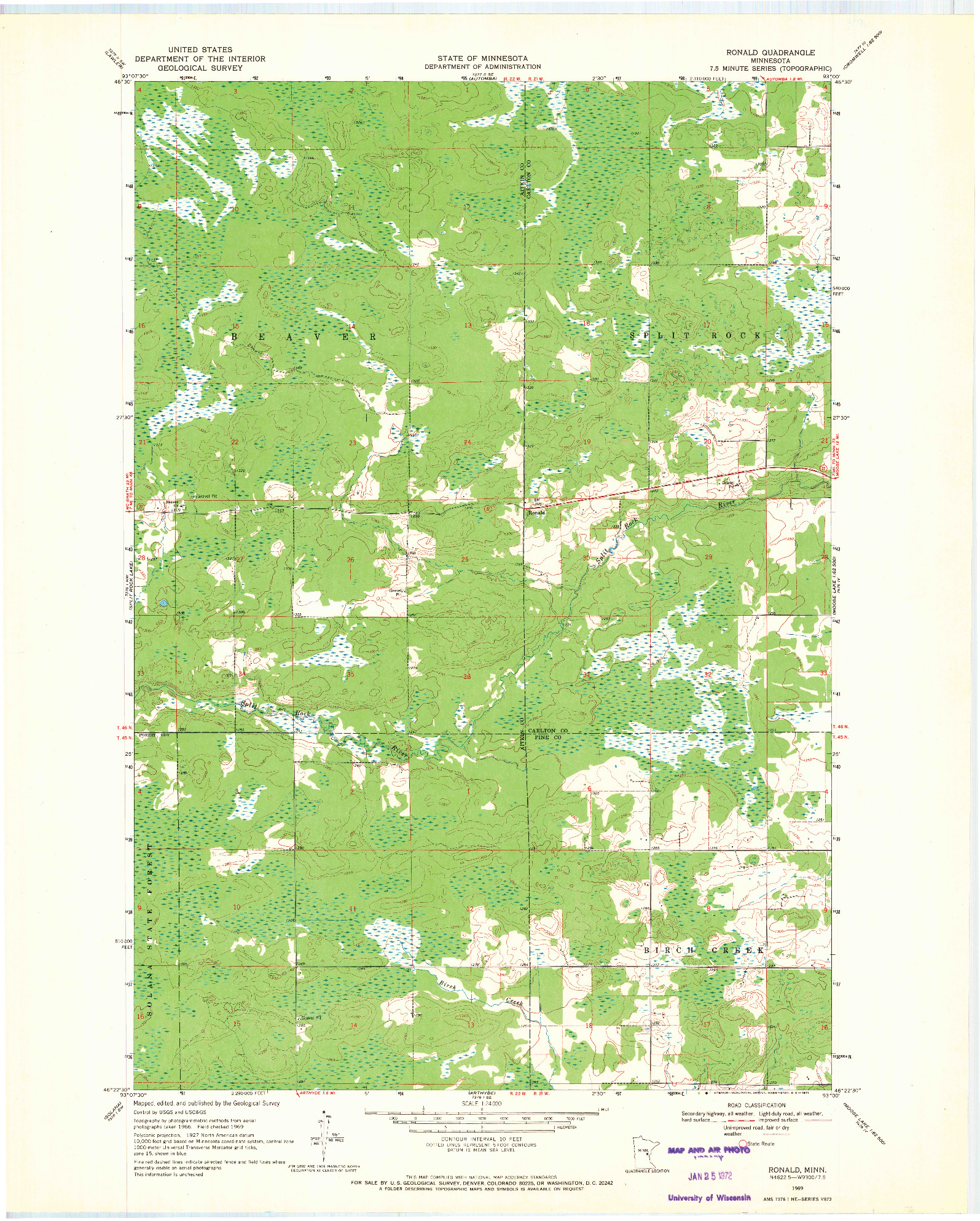 USGS 1:24000-SCALE QUADRANGLE FOR RONALD, MN 1969