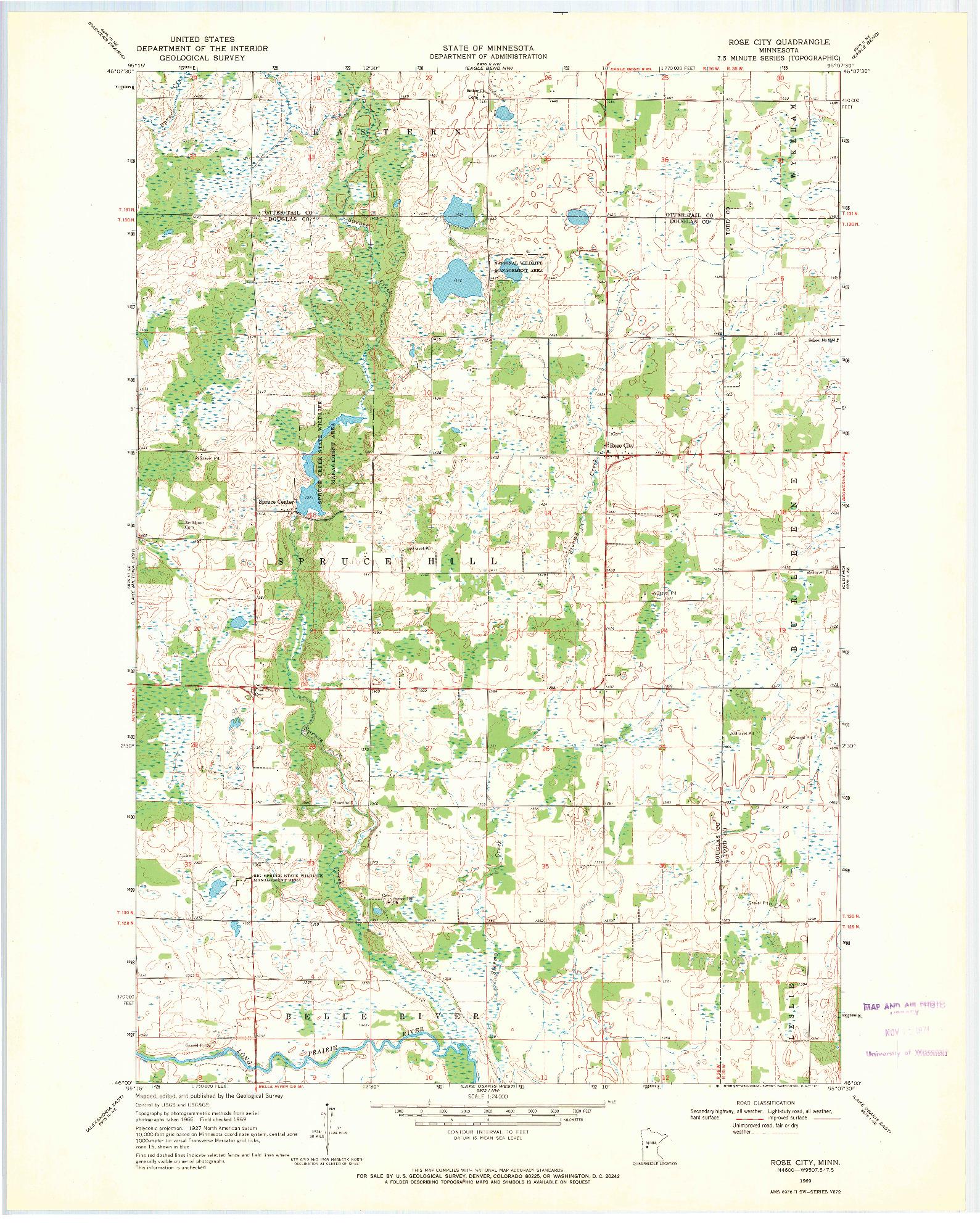 USGS 1:24000-SCALE QUADRANGLE FOR ROSE CITY, MN 1969