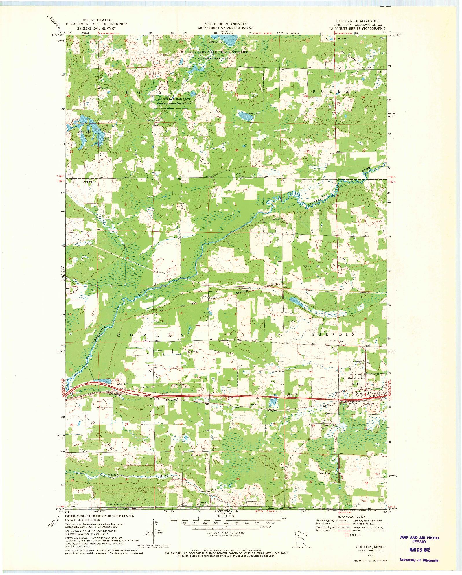 USGS 1:24000-SCALE QUADRANGLE FOR SHEVLIN, MN 1969