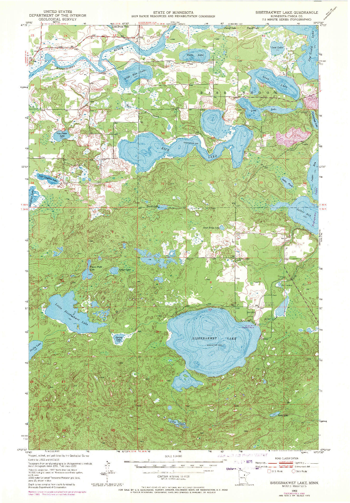 USGS 1:24000-SCALE QUADRANGLE FOR SISEEBAKWET LAKE, MN 1953