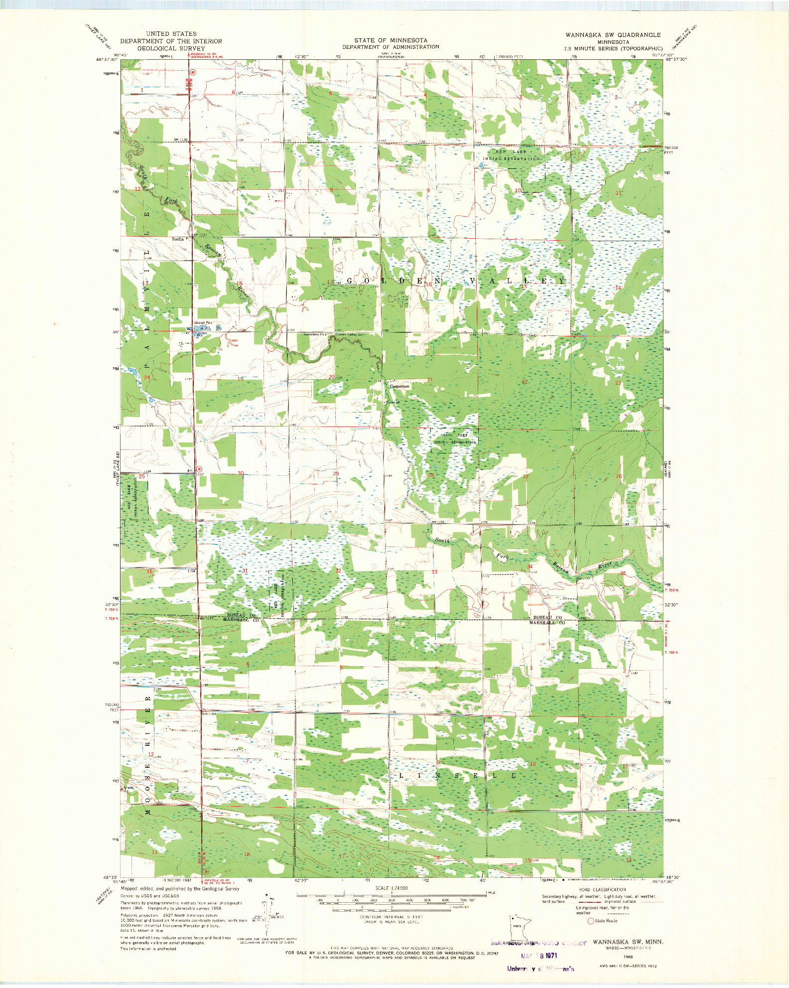 USGS 1:24000-SCALE QUADRANGLE FOR WANNASKA SW, MN 1968