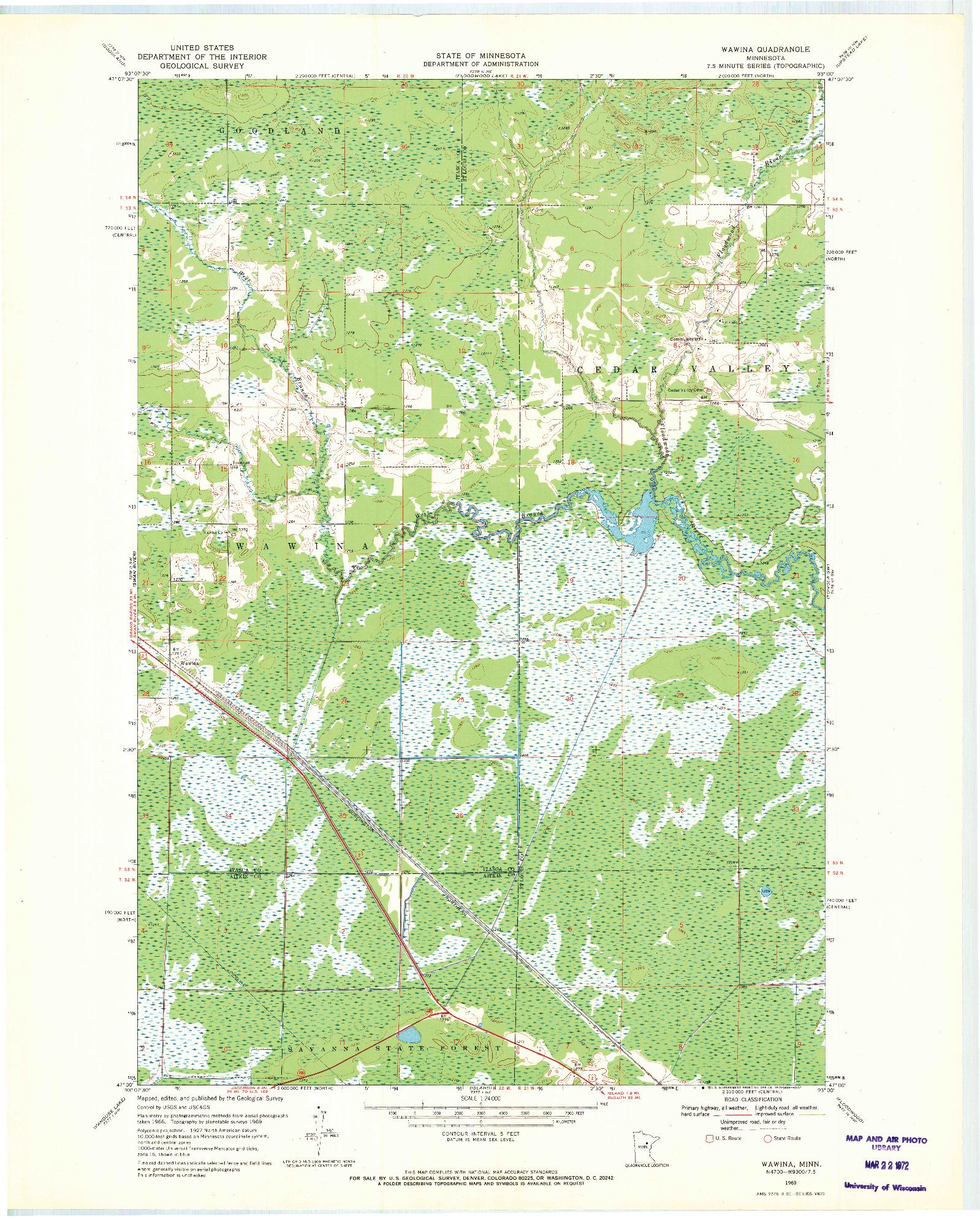 USGS 1:24000-SCALE QUADRANGLE FOR WAWINA, MN 1969