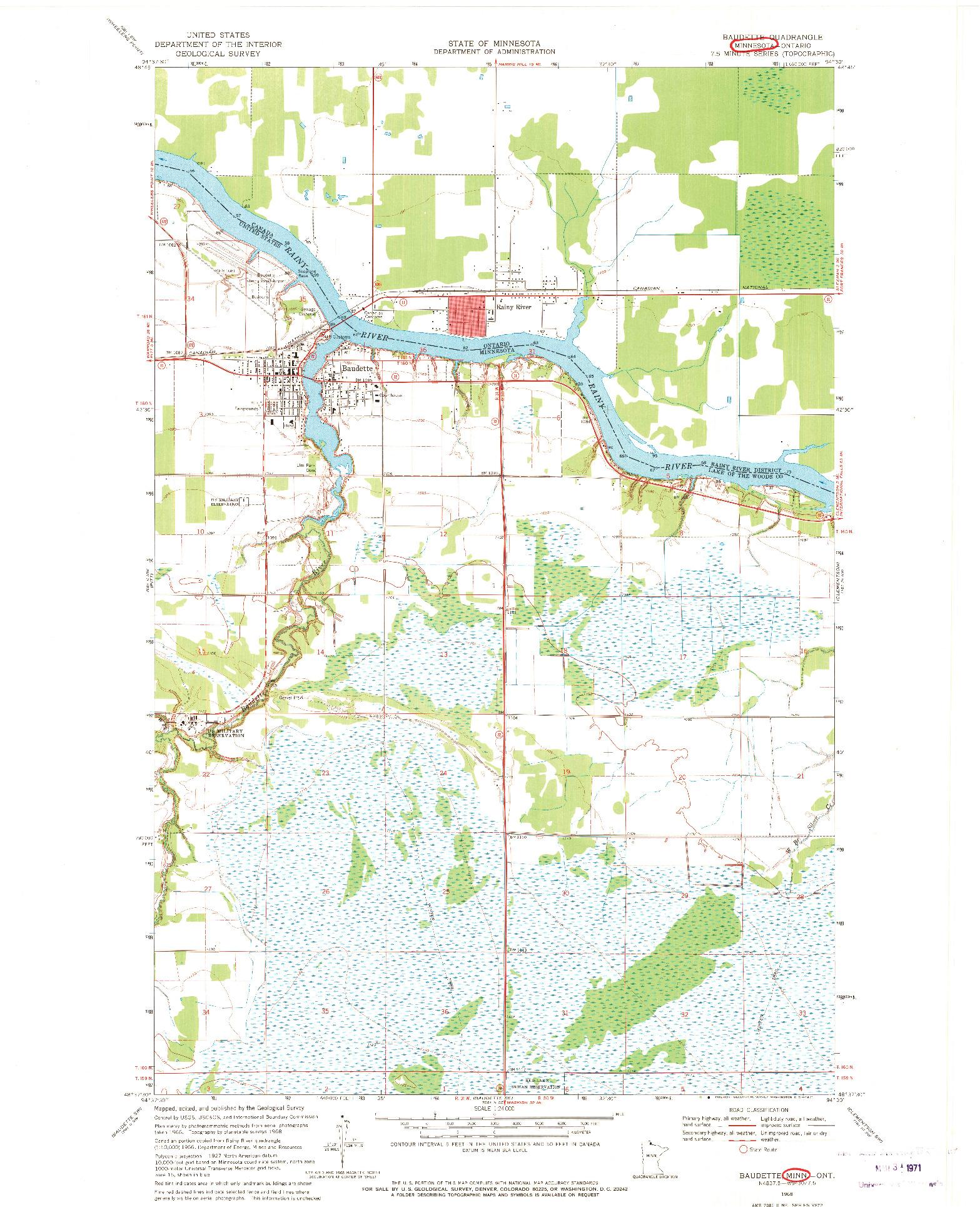 USGS 1:24000-SCALE QUADRANGLE FOR BAUDETTE, MN 1968