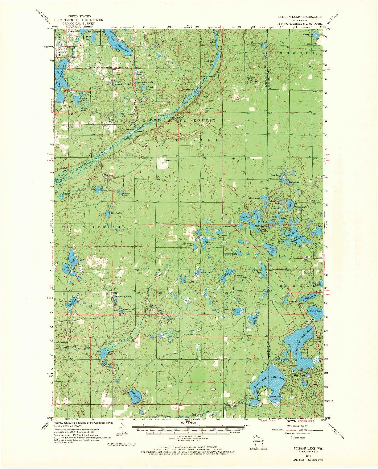 USGS 1:62500-SCALE QUADRANGLE FOR ELLISON LAKE, WI 1961