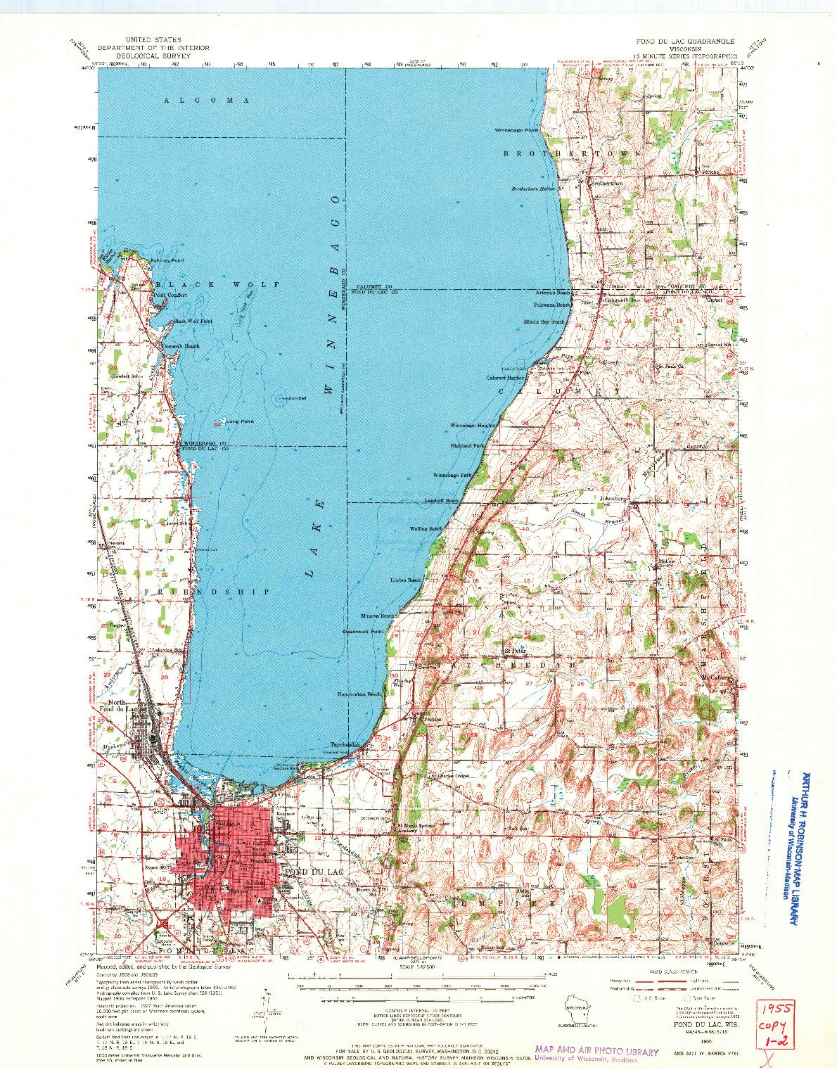 USGS 1:62500-SCALE QUADRANGLE FOR FOND DU LAC, WI 1955
