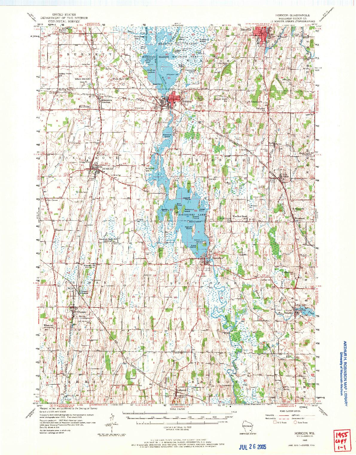 USGS 1:62500-SCALE QUADRANGLE FOR HORICON, WI 1955