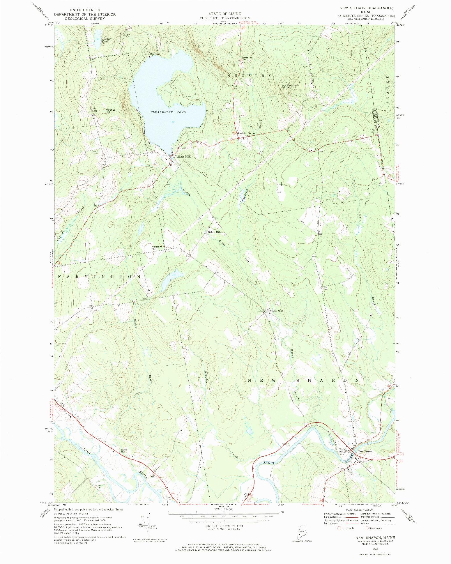 USGS 1:24000-SCALE QUADRANGLE FOR NEW SHARON, ME 1968