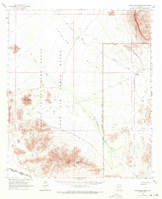 USGS 1:62500-SCALE QUADRANGLE FOR AGUA DULCE MTS, AZ 1964