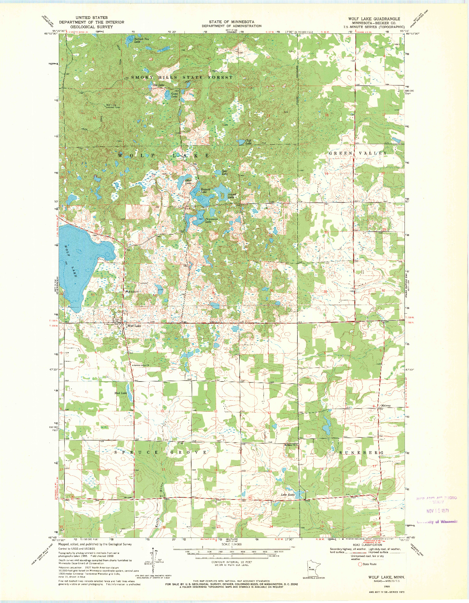 USGS 1:24000-SCALE QUADRANGLE FOR WOLF LAKE, MN 1969