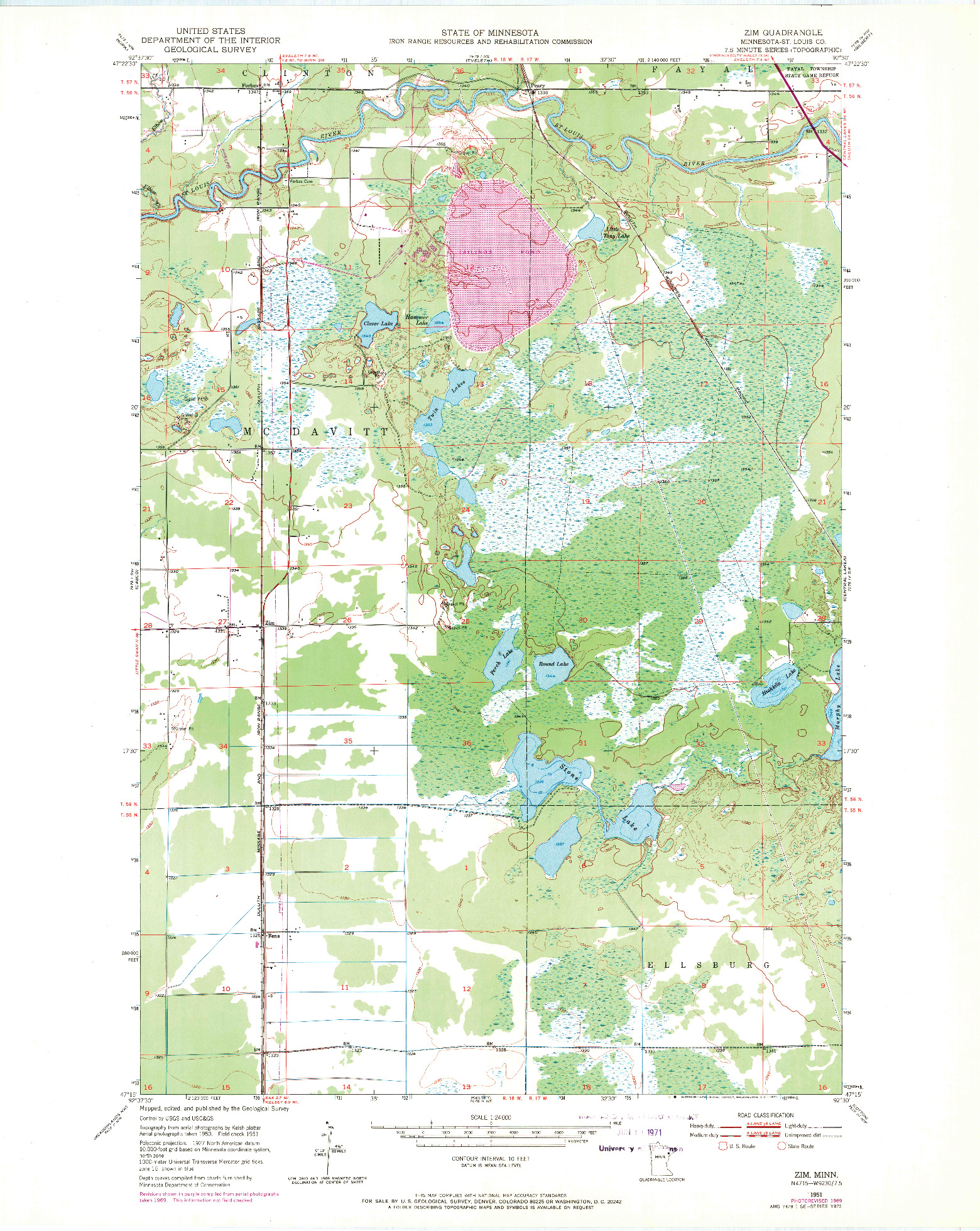 USGS 1:24000-SCALE QUADRANGLE FOR ZIM, MN 1951