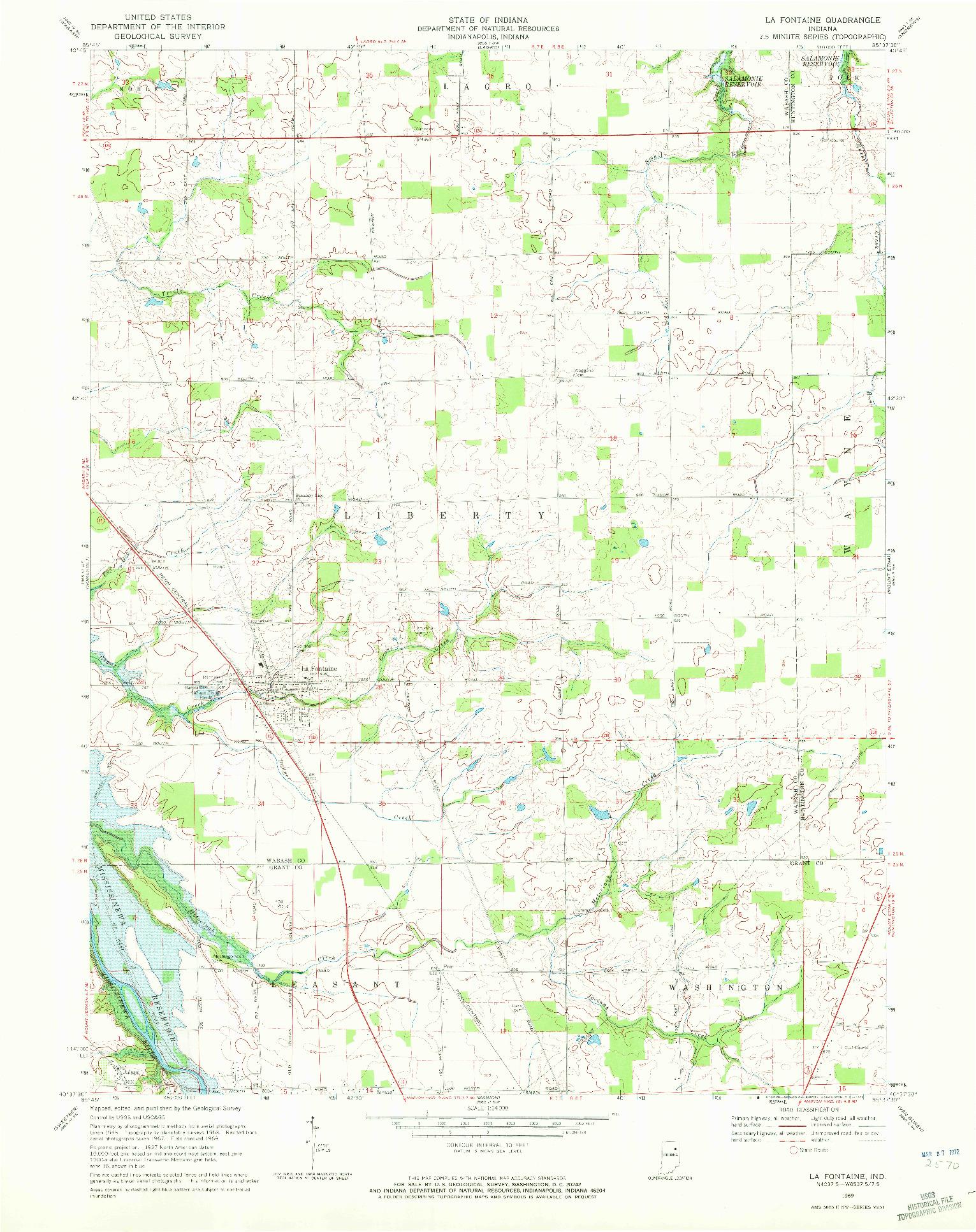 USGS 1:24000-SCALE QUADRANGLE FOR LA FONTAINE, IN 1969