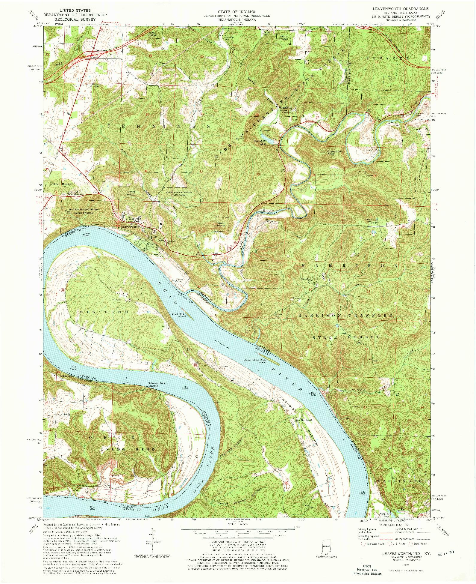 USGS 1:24000-SCALE QUADRANGLE FOR LEAVENWORTH, IN 1970