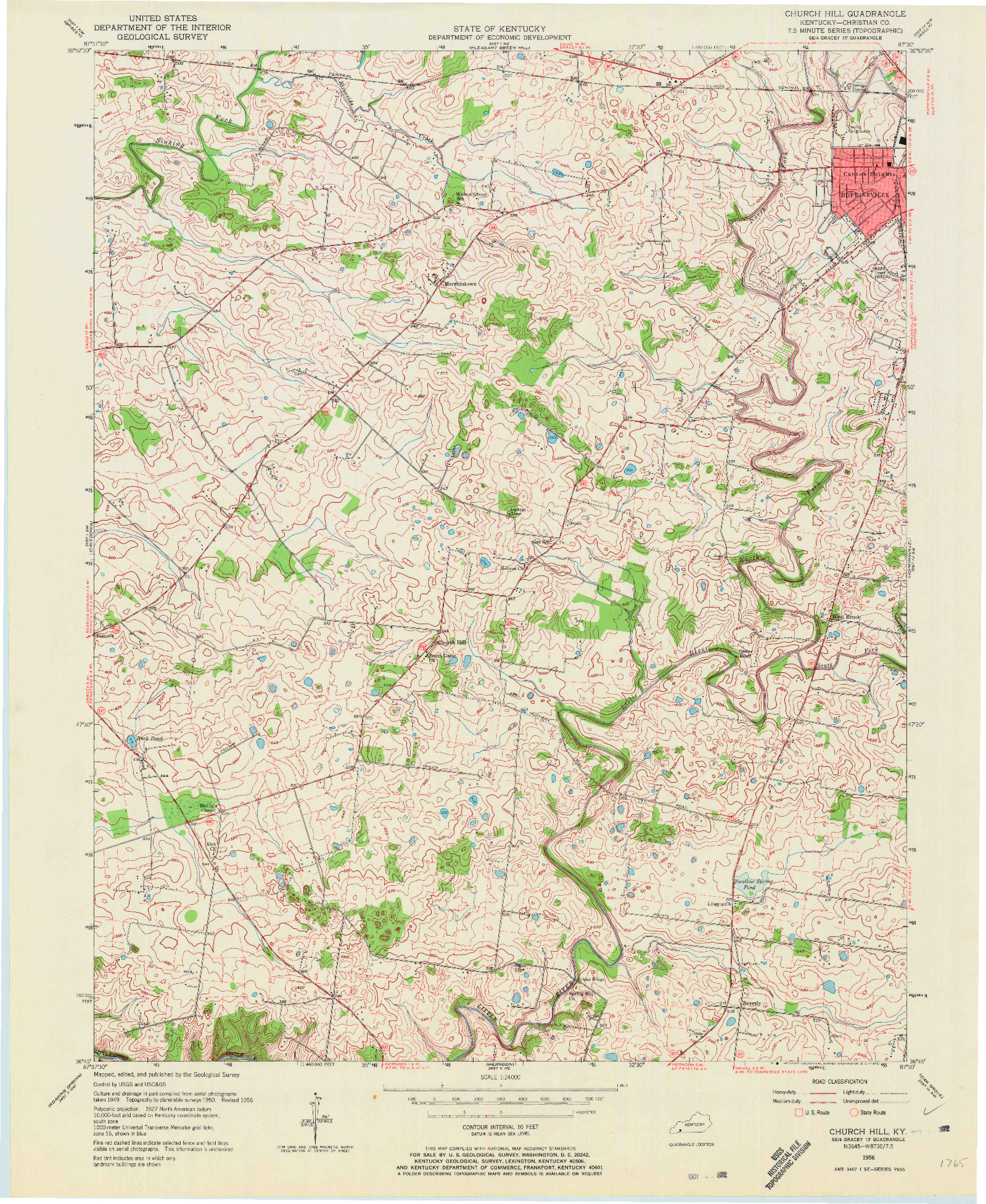 USGS 1:24000-SCALE QUADRANGLE FOR CHURCH HILL, KY 1956