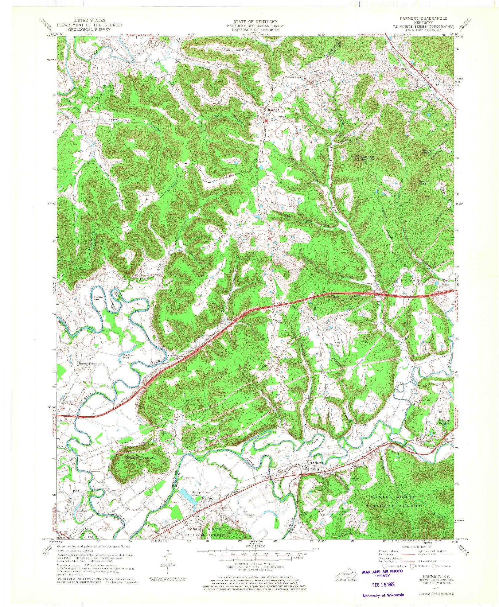 USGS 1:24000-SCALE QUADRANGLE FOR FARMERS, KY 1970