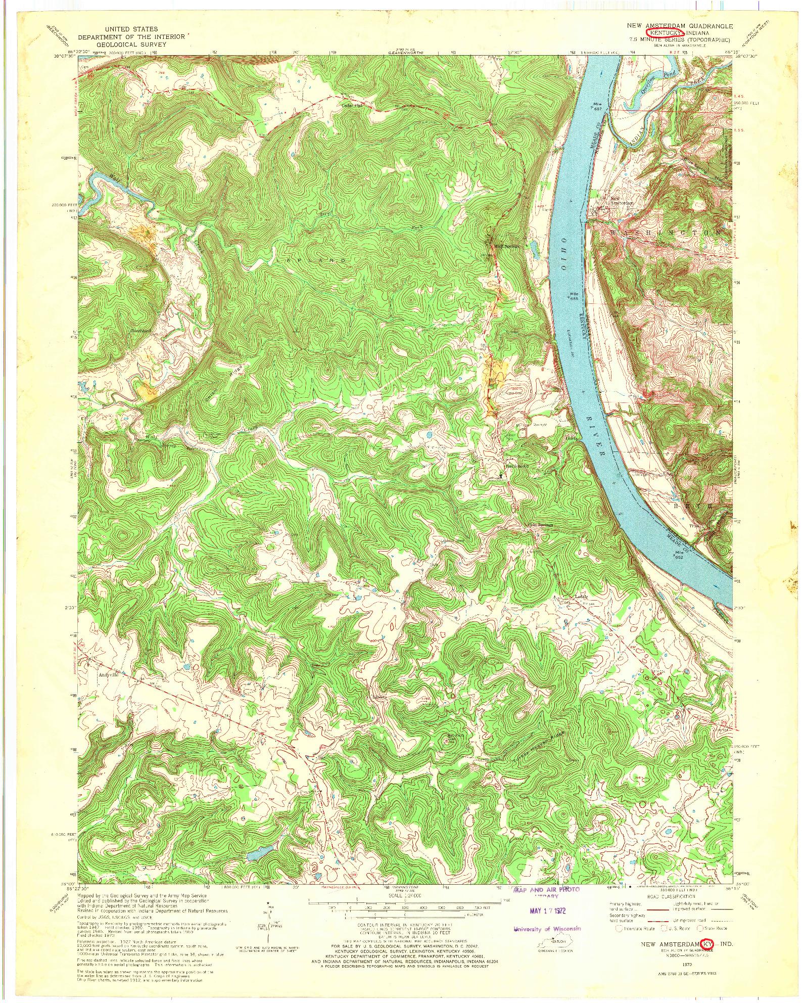 USGS 1:24000-SCALE QUADRANGLE FOR NEW AMSTERDAM, KY 1970