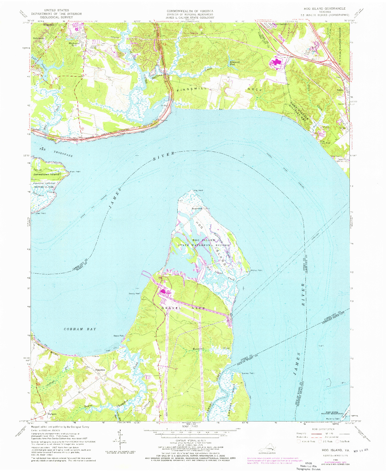 USGS 1:24000-SCALE QUADRANGLE FOR HOG ISLAND, VA 1965