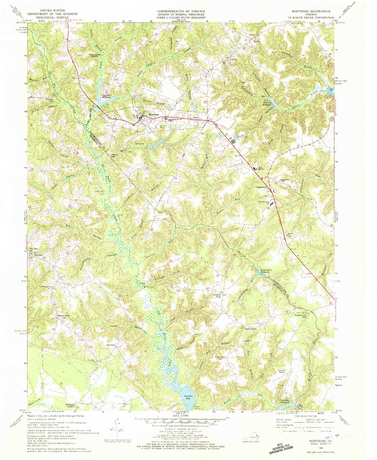 USGS 1:24000-SCALE QUADRANGLE FOR MONTROSS, VA 1968